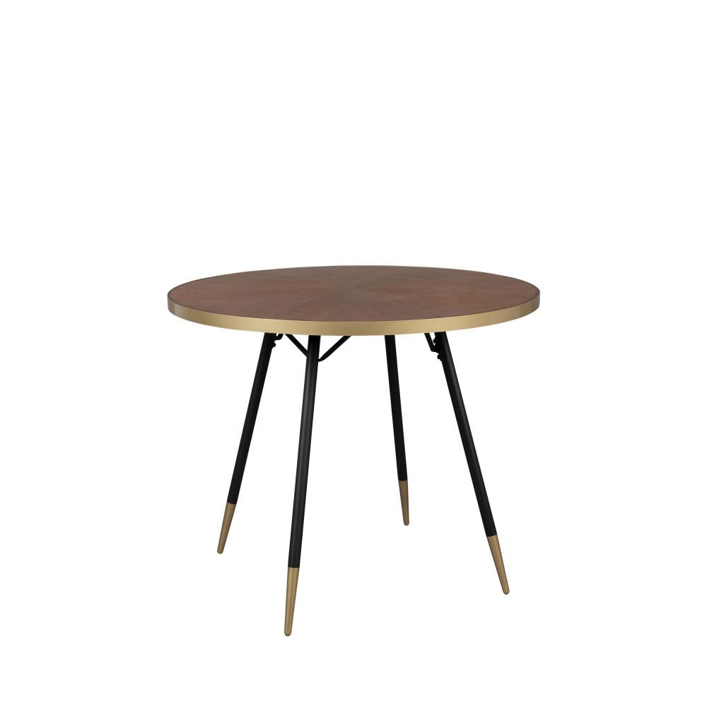 Table à manger ronde D91cm métal effet bois foncé