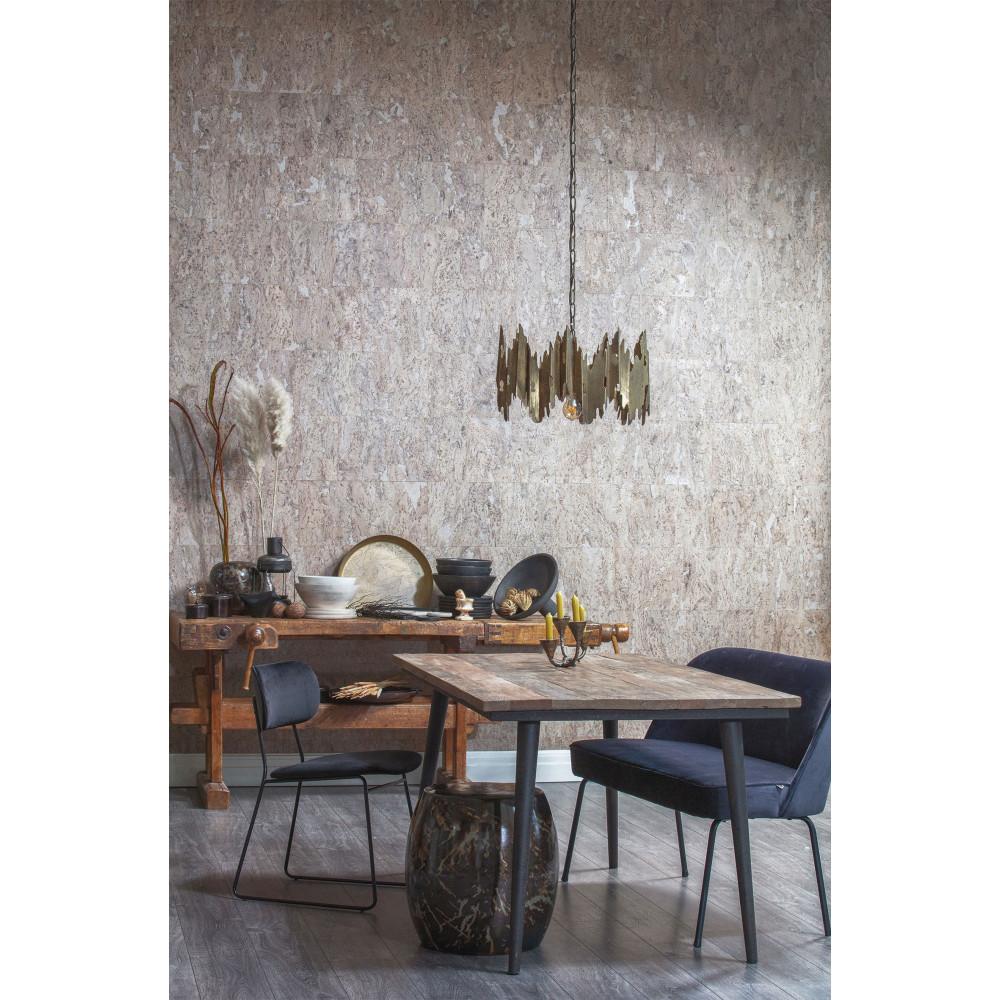 Table à manger en bois recyclé et métal 180x90cm