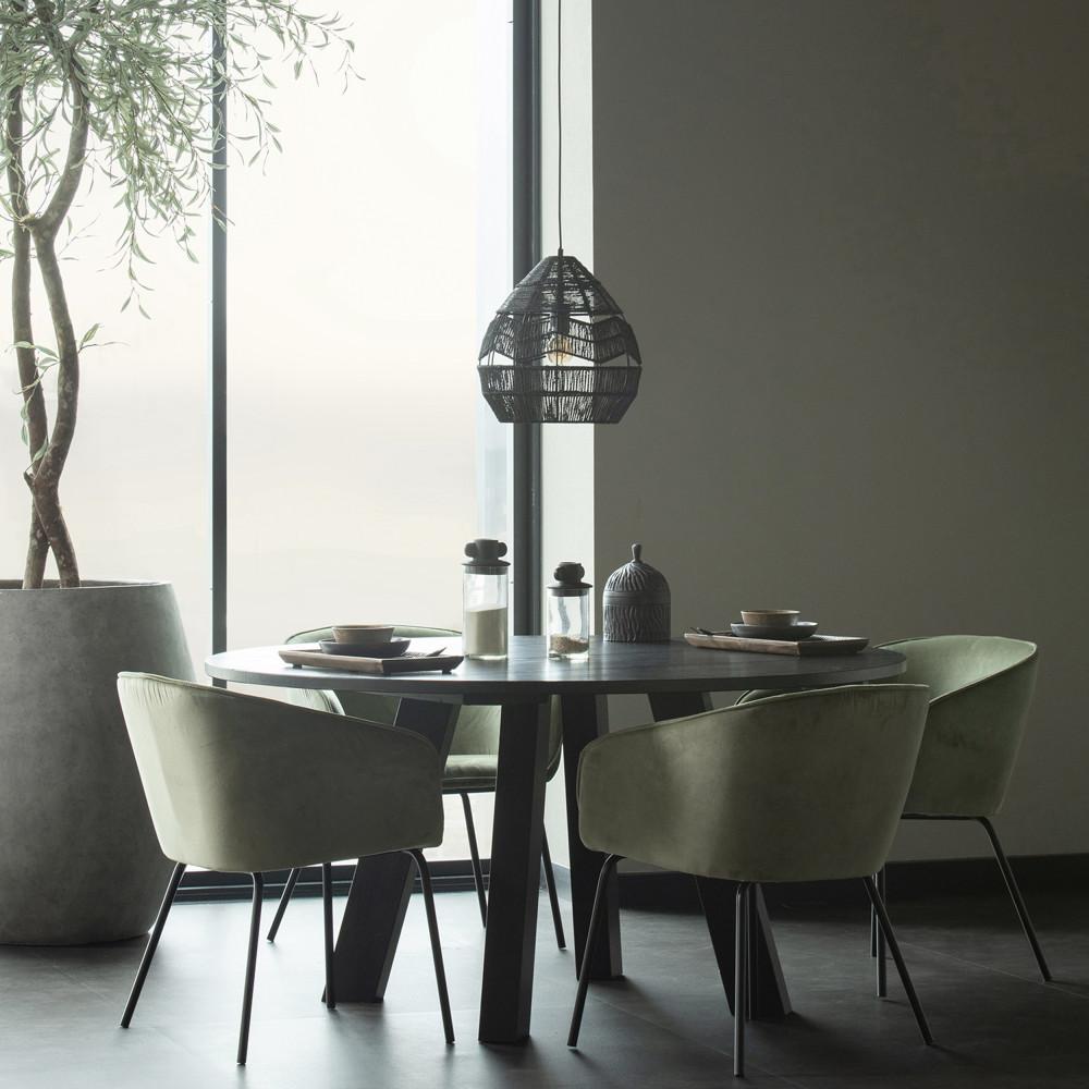 Table à manger ronde D150cm en chêne noir