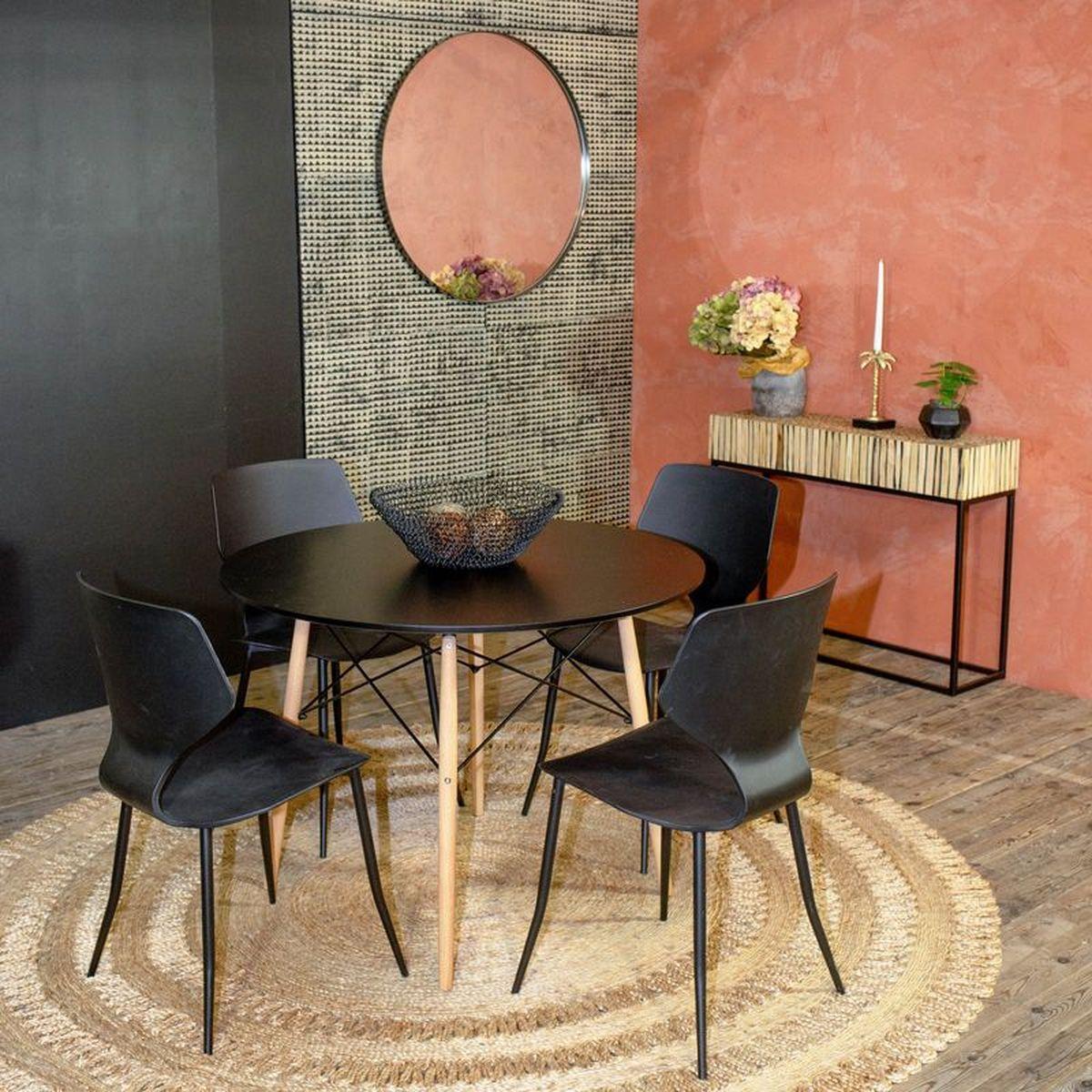 Table en bois plateau noir