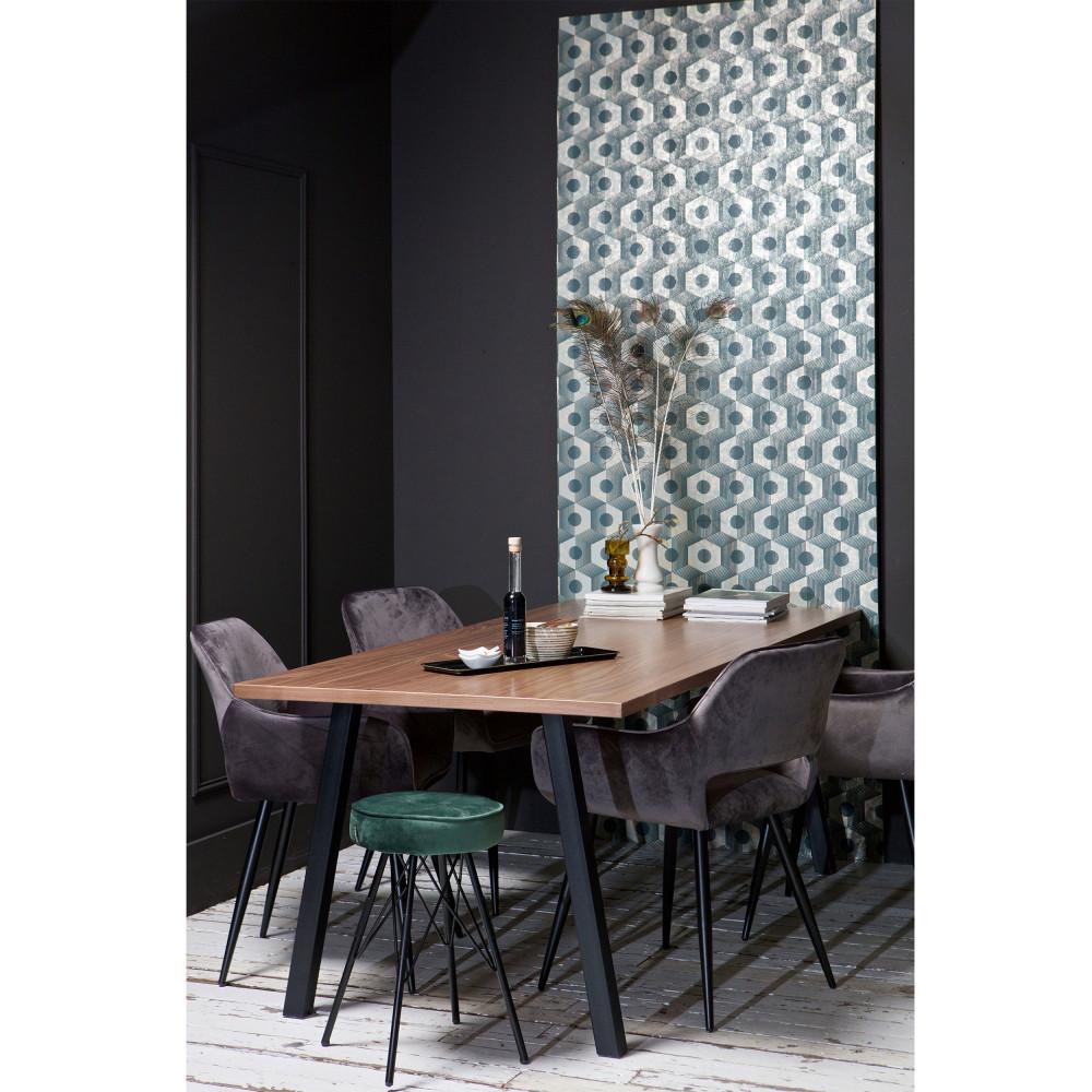 Table à manger en bois clair et métal 200x90 cm