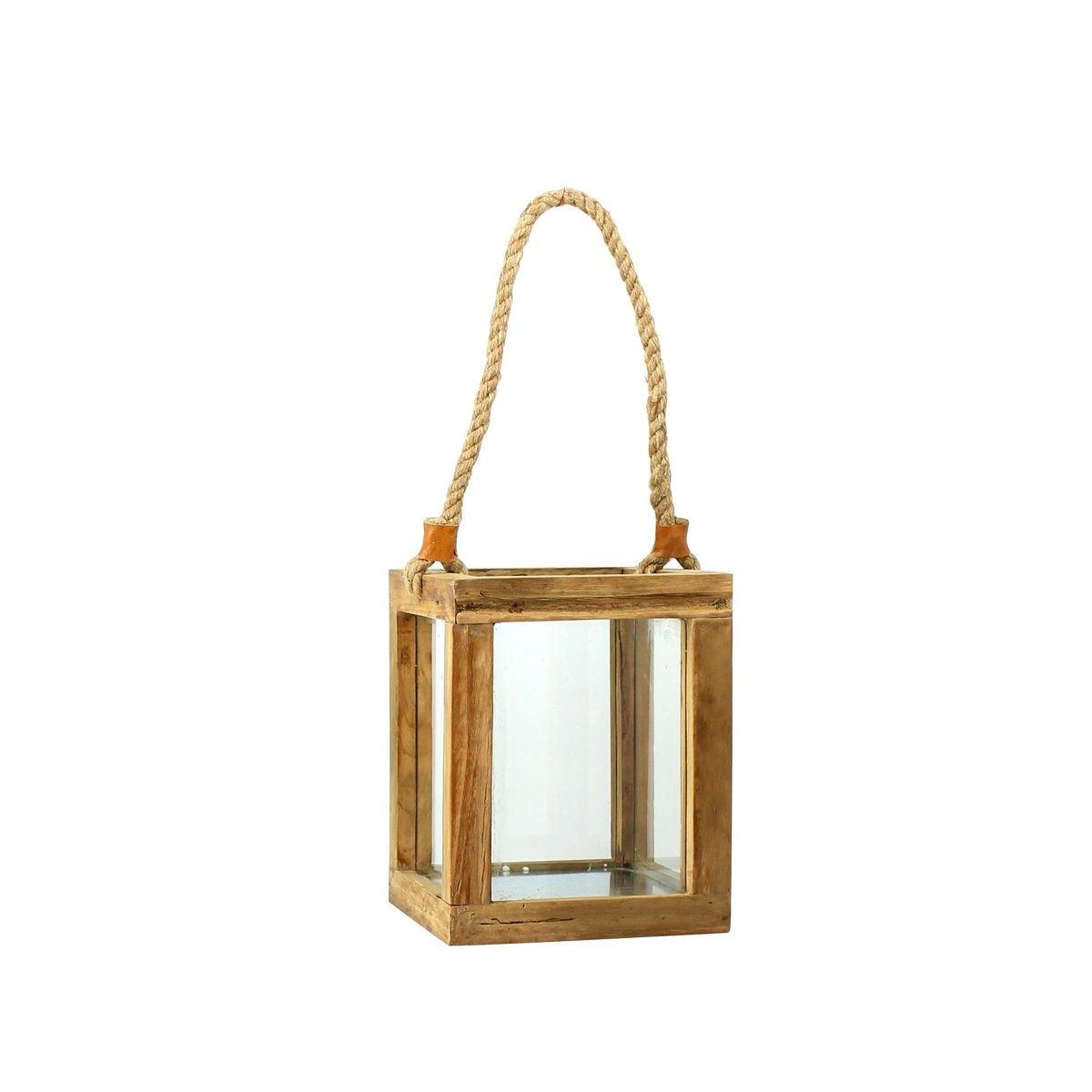 Lanterne en bois de teck couleur naturelle H25cm