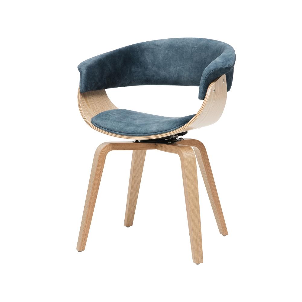Chaise pivotante velours bleu érable moderne