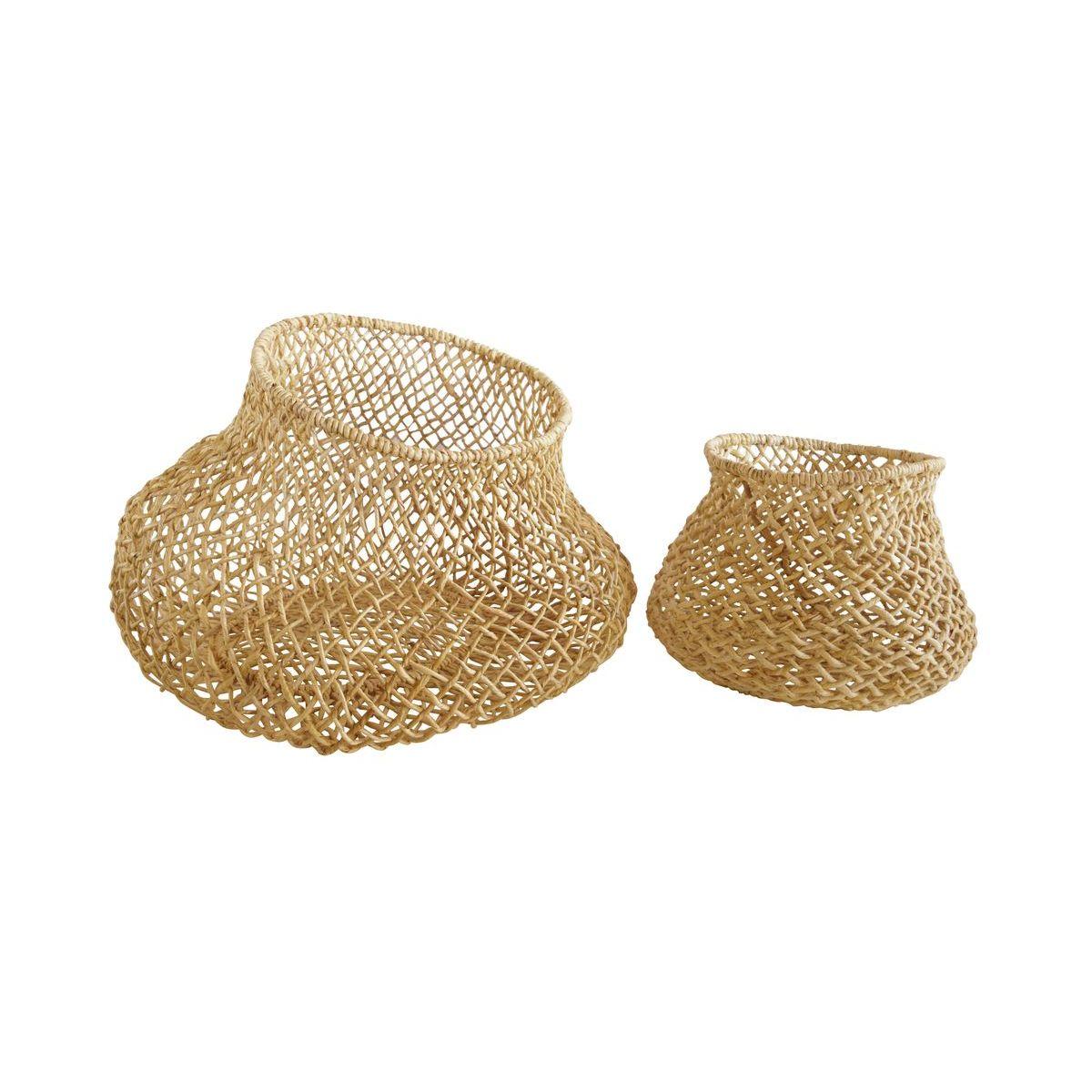 Lot de 2 paniers/cache-pots en fibre d'abaca