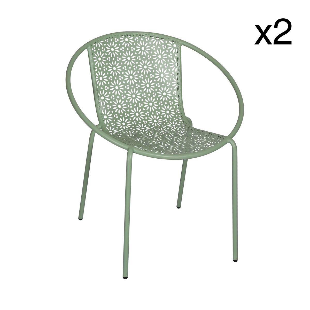 Lot de 2 fauteuils d'extérieur en métal vert