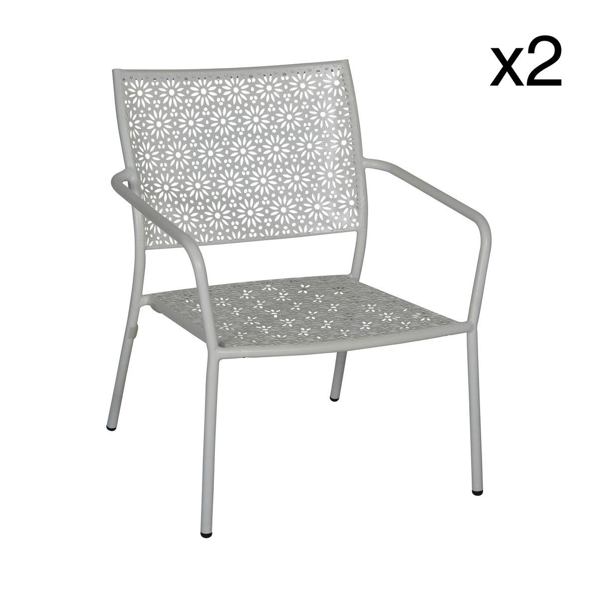 Lot de 2 fauteuils d'extérieur en métal blanc