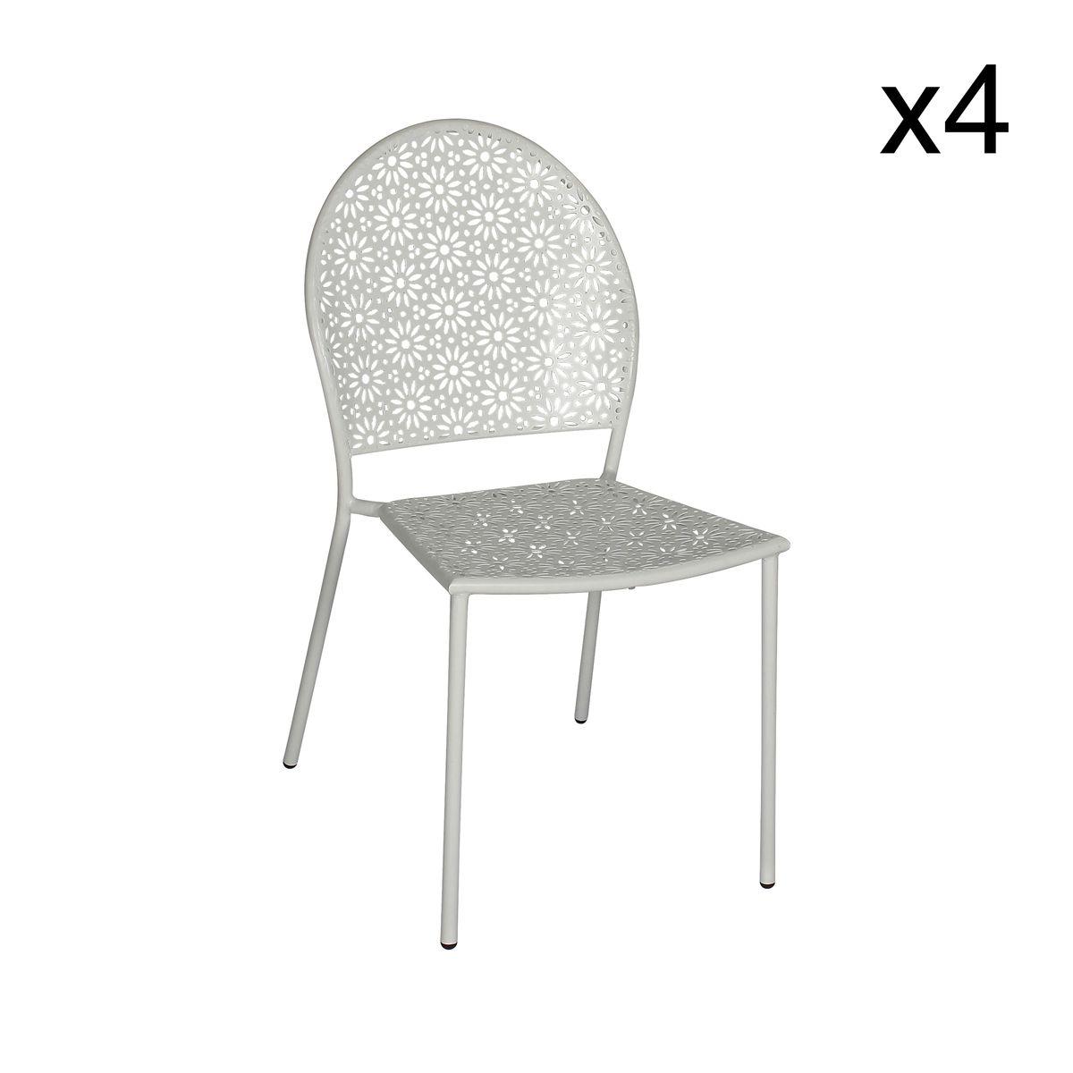 Lot de 4 chaises d'extérieur en métal blanc