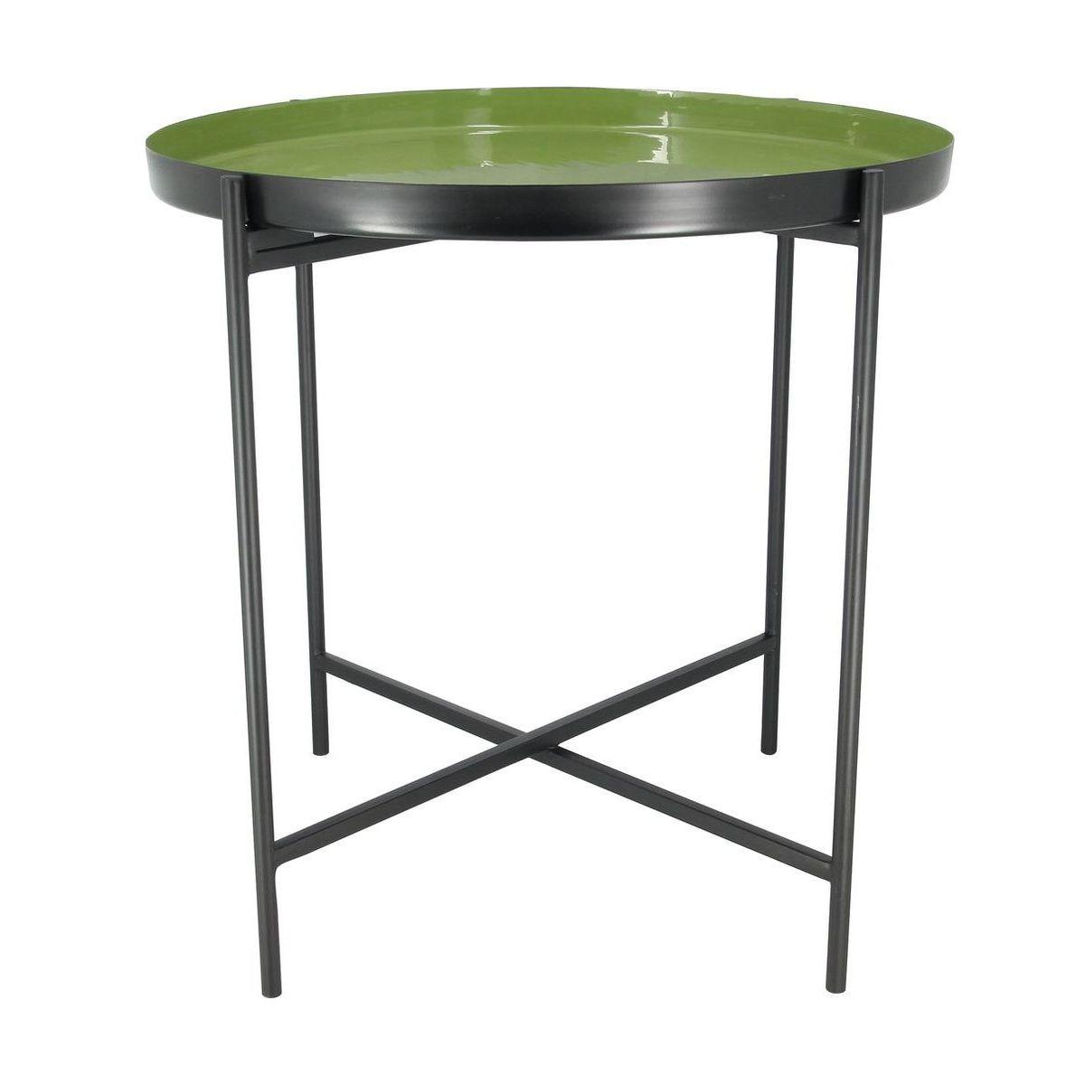 Bout de canapé en métal émaillé vert olive D54