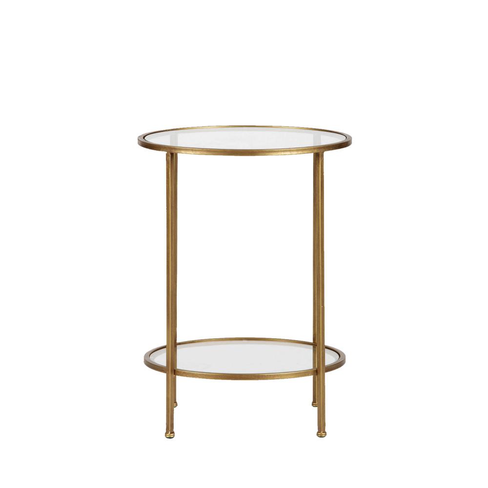 Table d'appoint en métal et verre D45,5cm laiton
