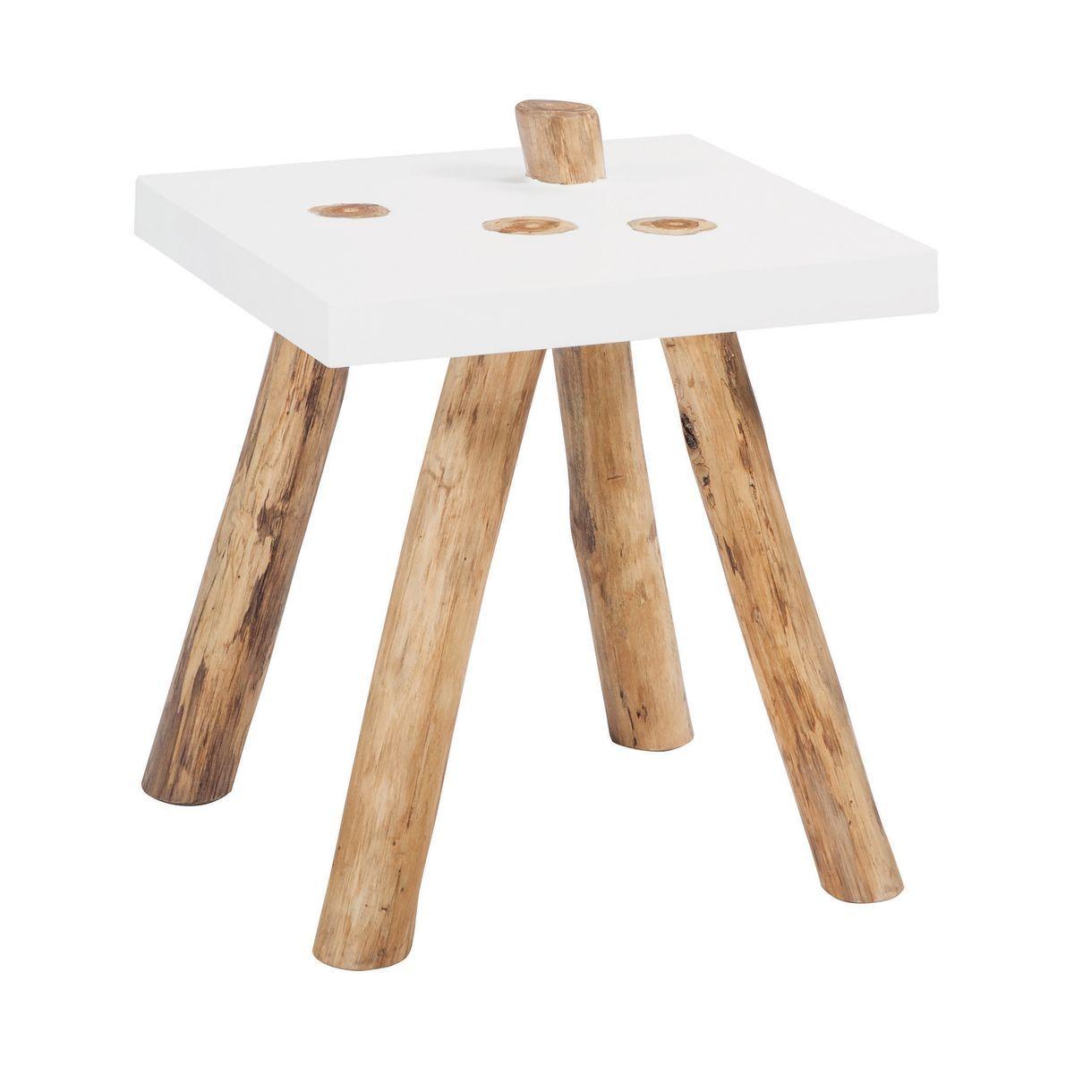 Bout de canapé en bois blanc pieds en teck