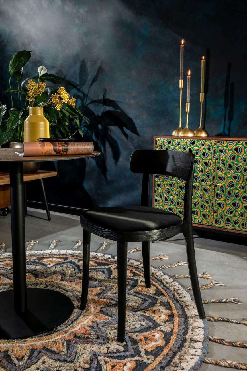 Chaise de repas en velours noir