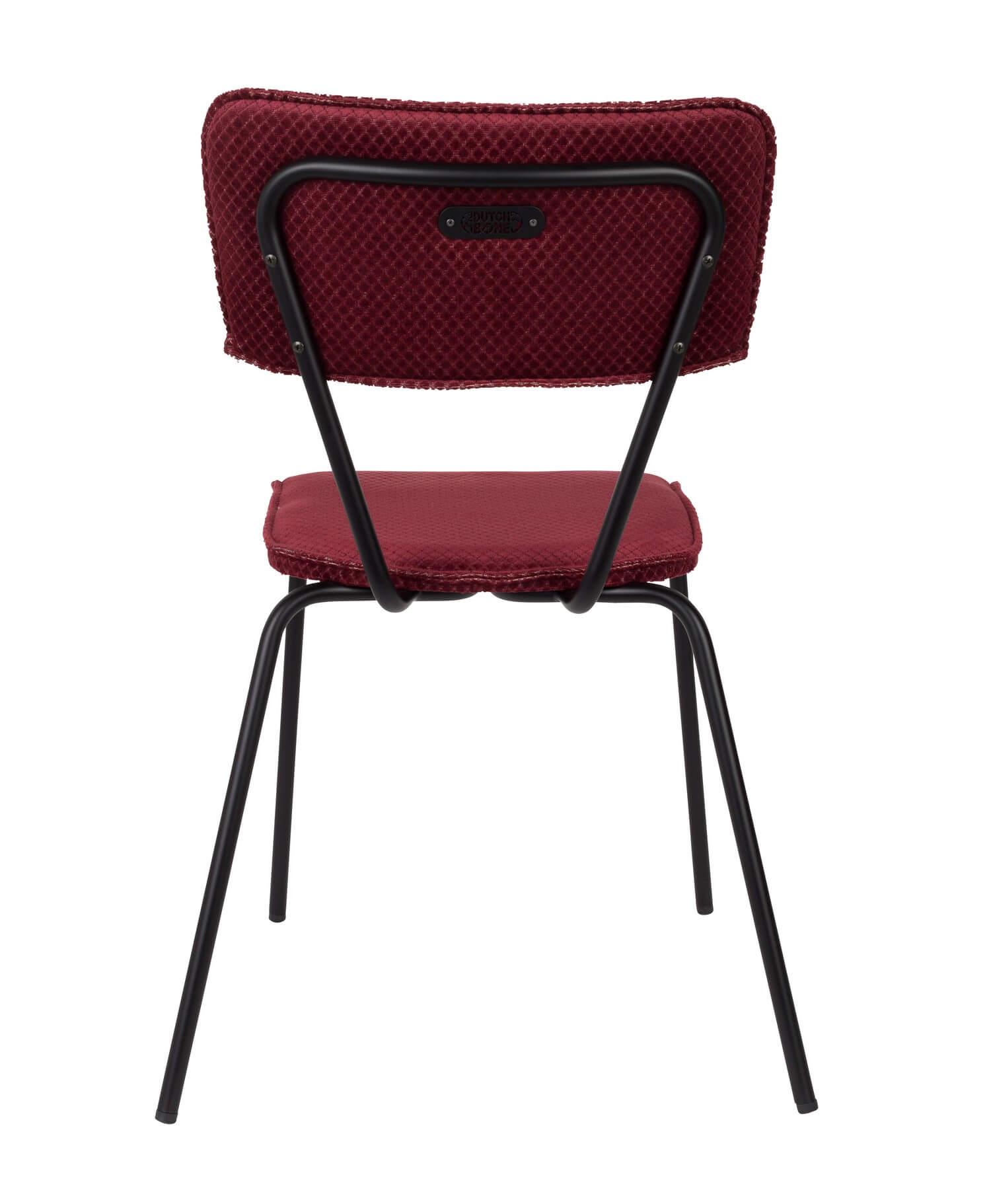 Chaise design de repas velours rouge