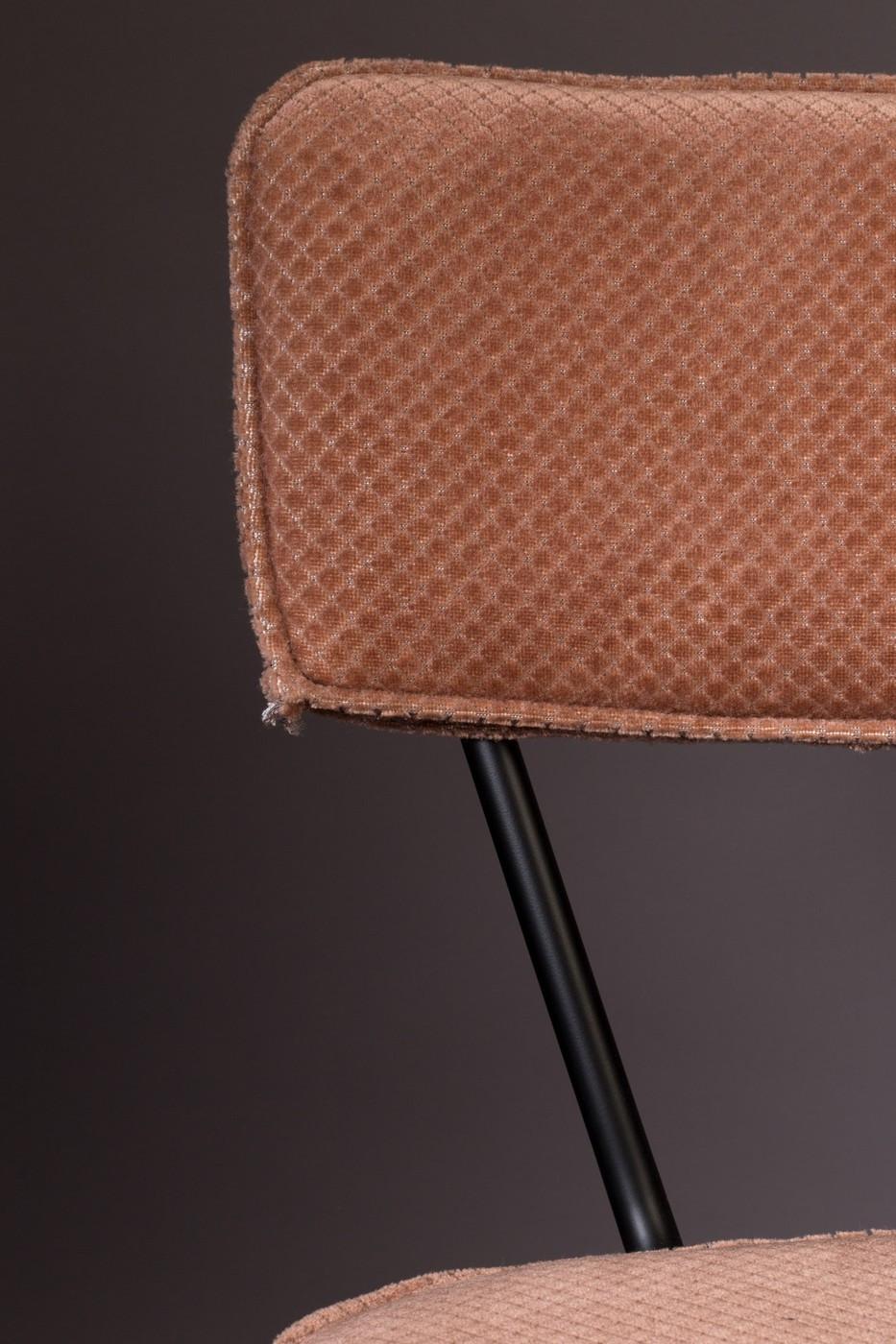 Chaise design de repas velours rose