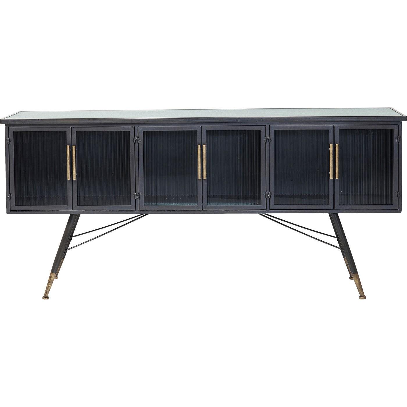 Meuble TV industriel 6 portes en acier et verre
