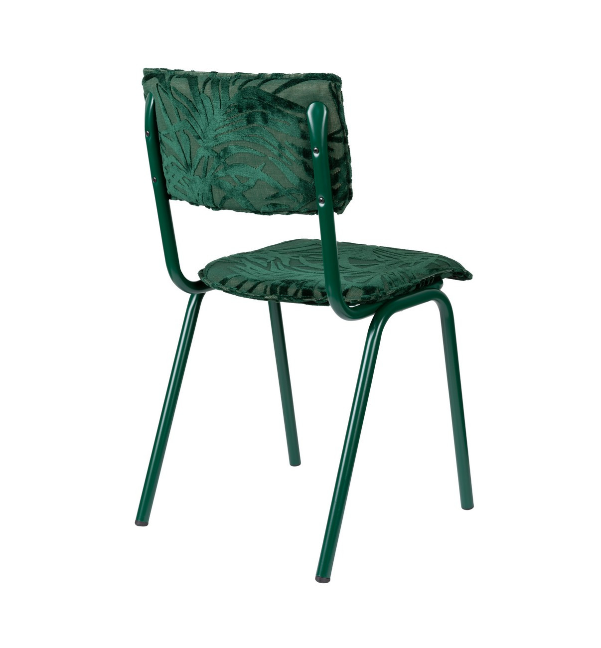 Chaise de repas en velours brodé vert
