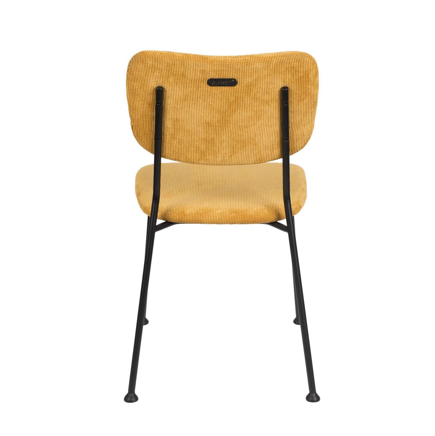 Chaise de repas velours jaune