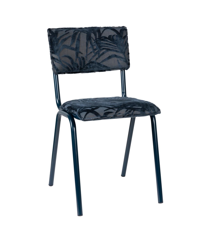 Chaise velours brodé bleu