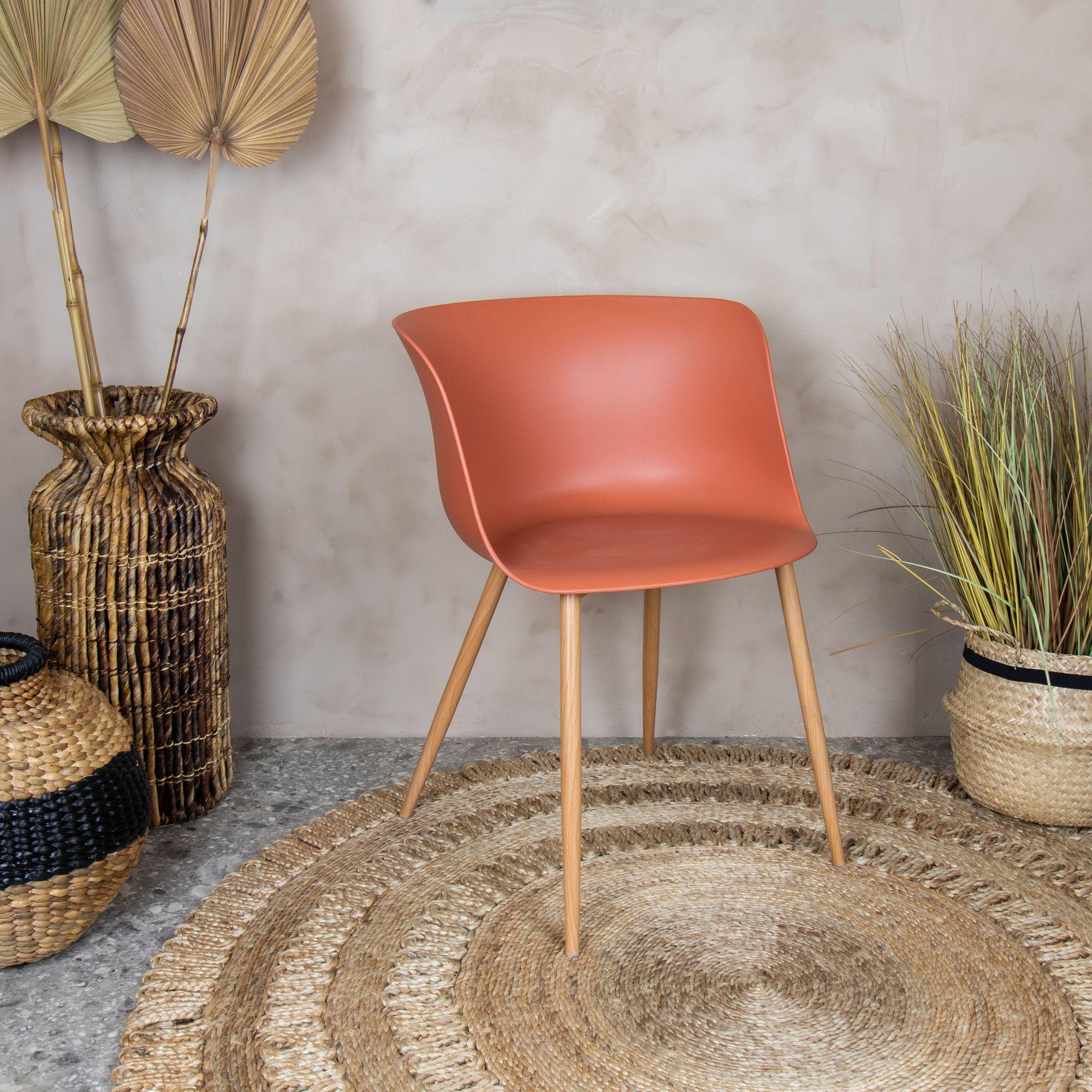 Lot de 4 fauteuils de table terracotta