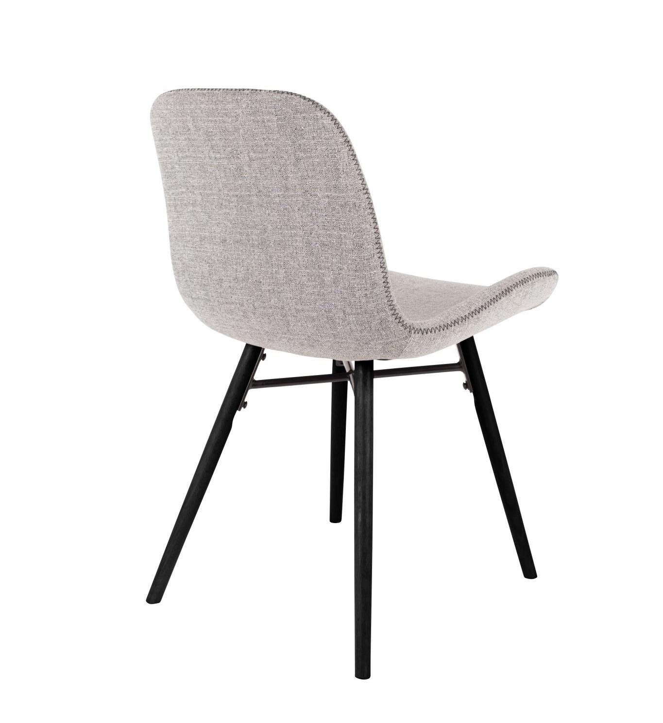 Chaise design de repas tissu gris clair