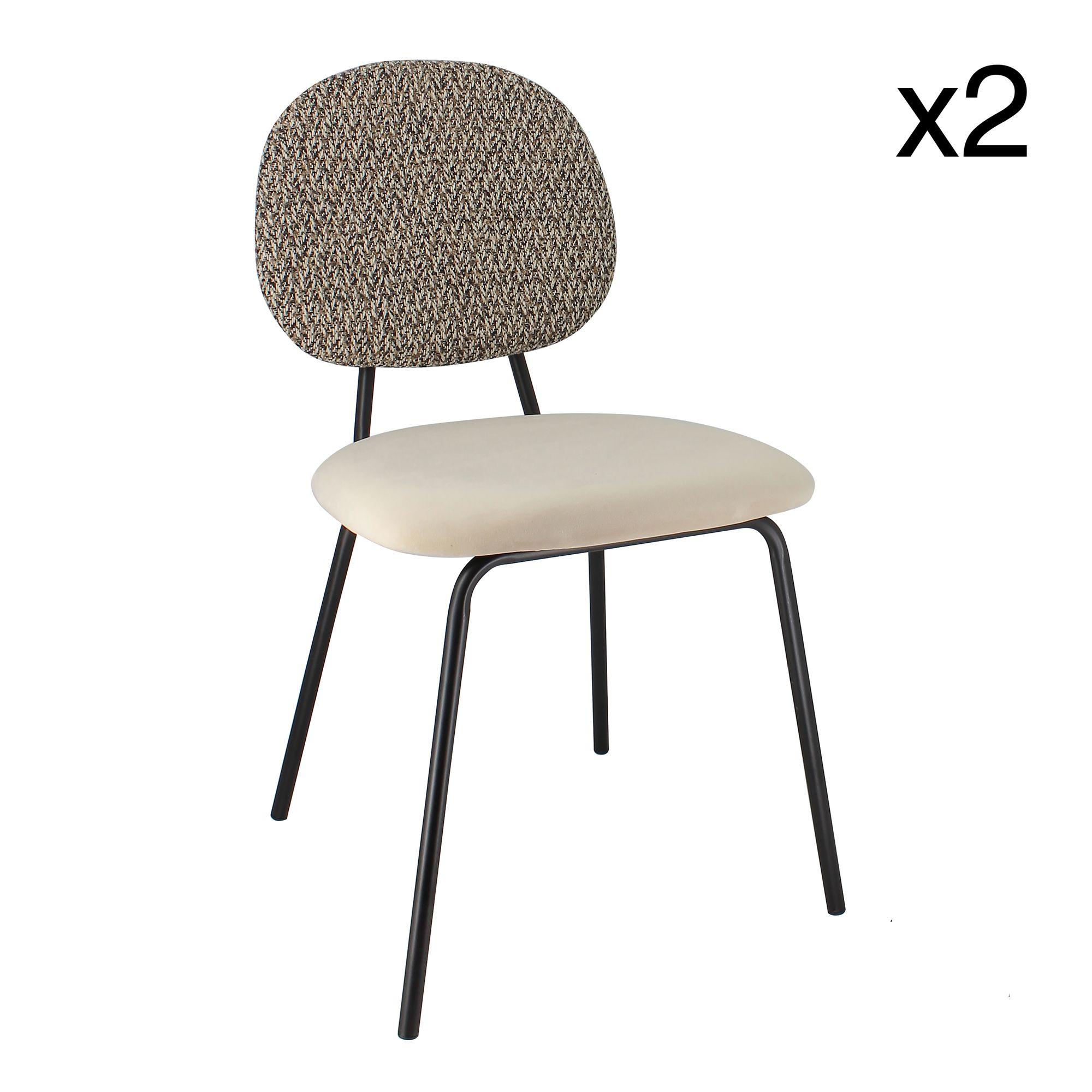 Lot de 2 chaises en velours écru pieds en métal noir
