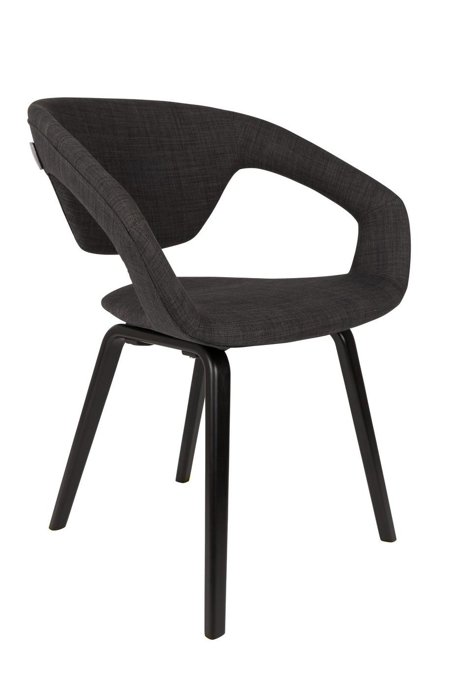 Chaise design tissu Anthracite/noir