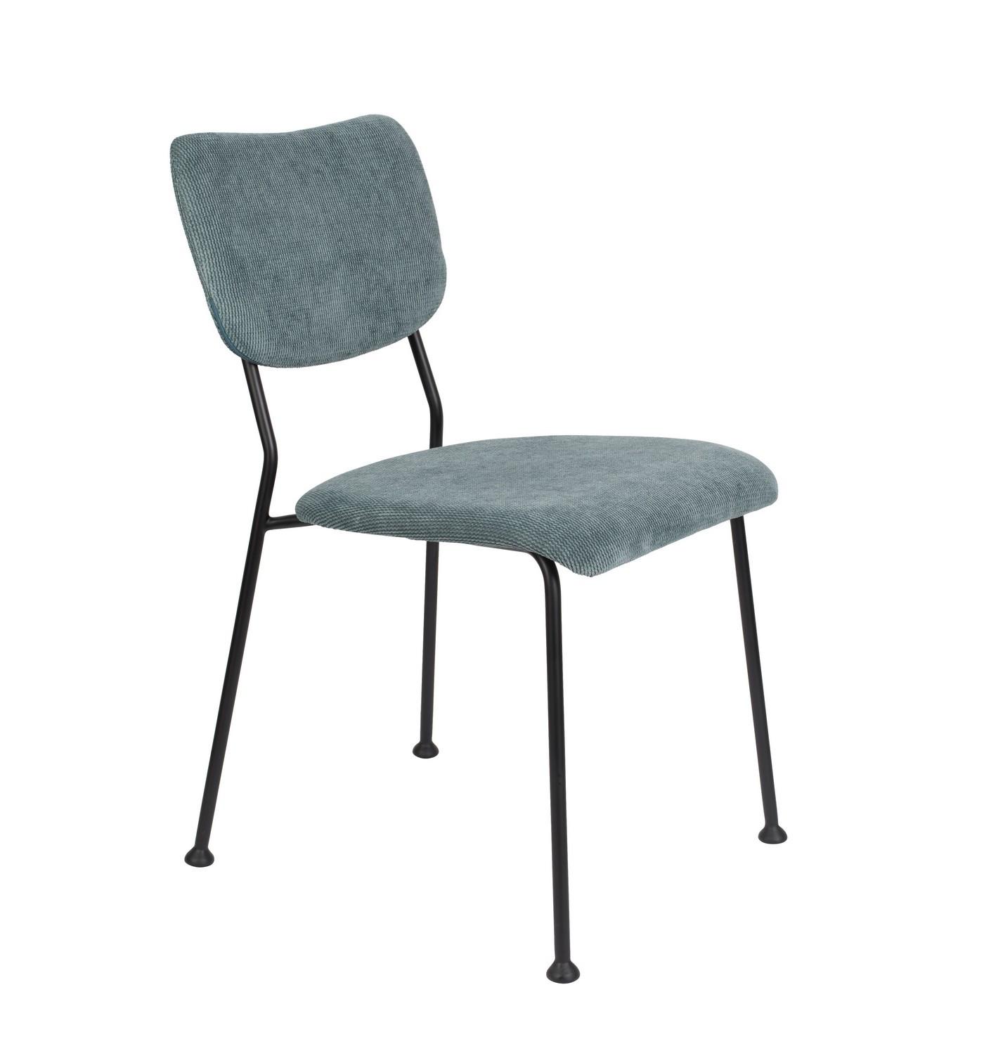 Chaise de repas velours  gris bleu