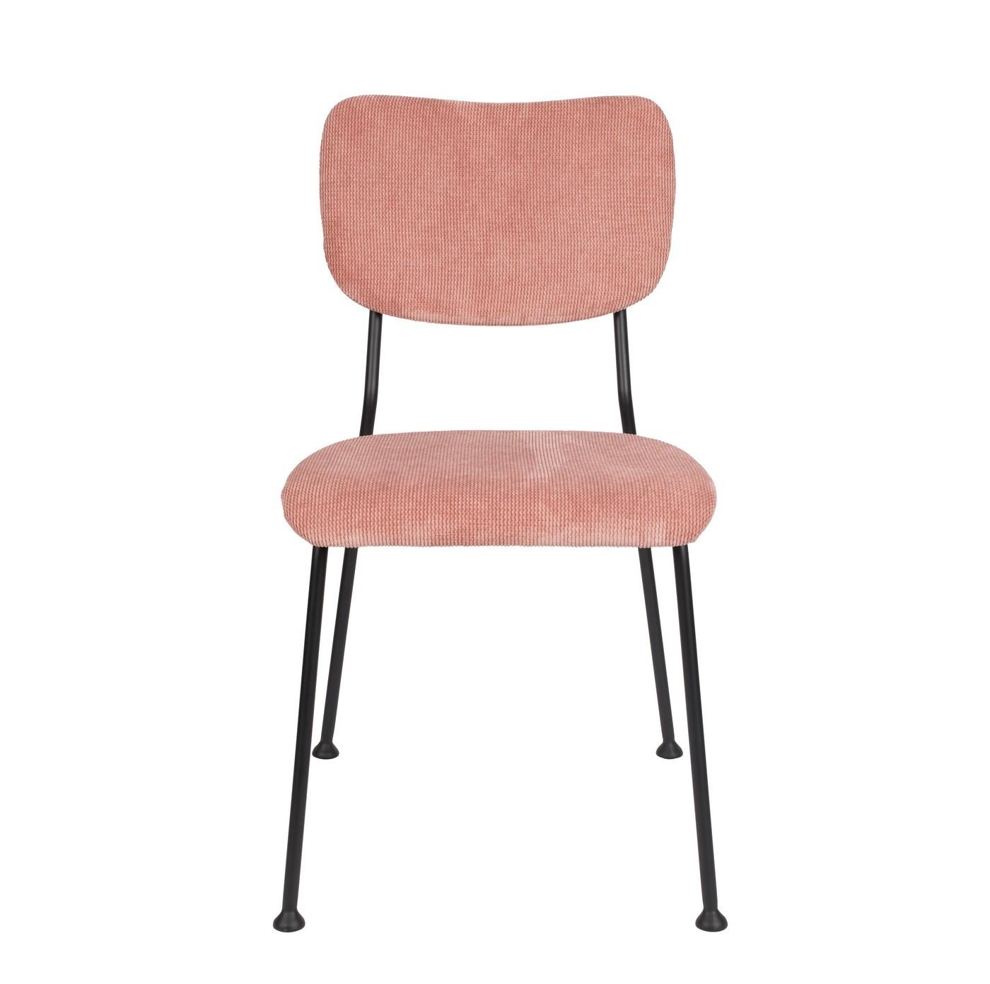 Chaise de salle à manger velours  rose