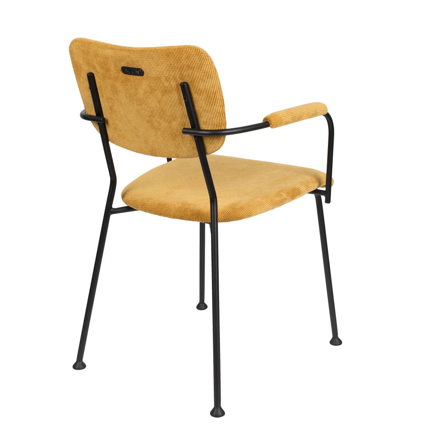 Chaise accoudoirs velours jaune