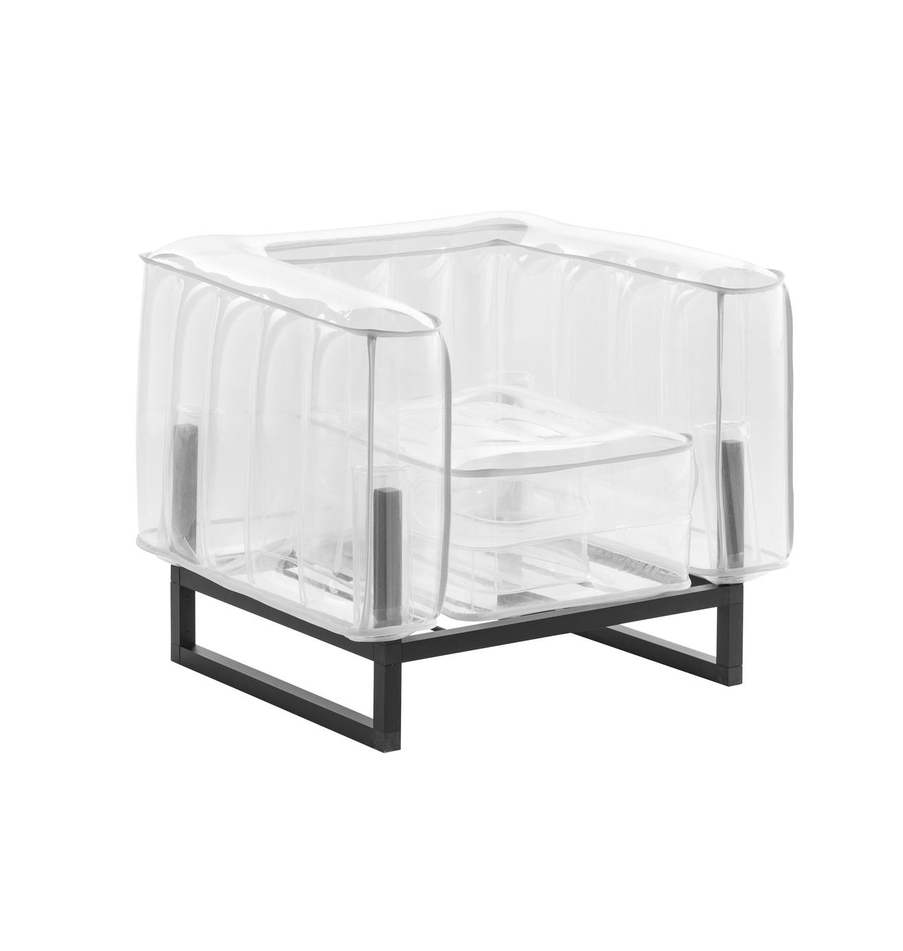 Fauteuil tpu transparent avec passepoil blanc