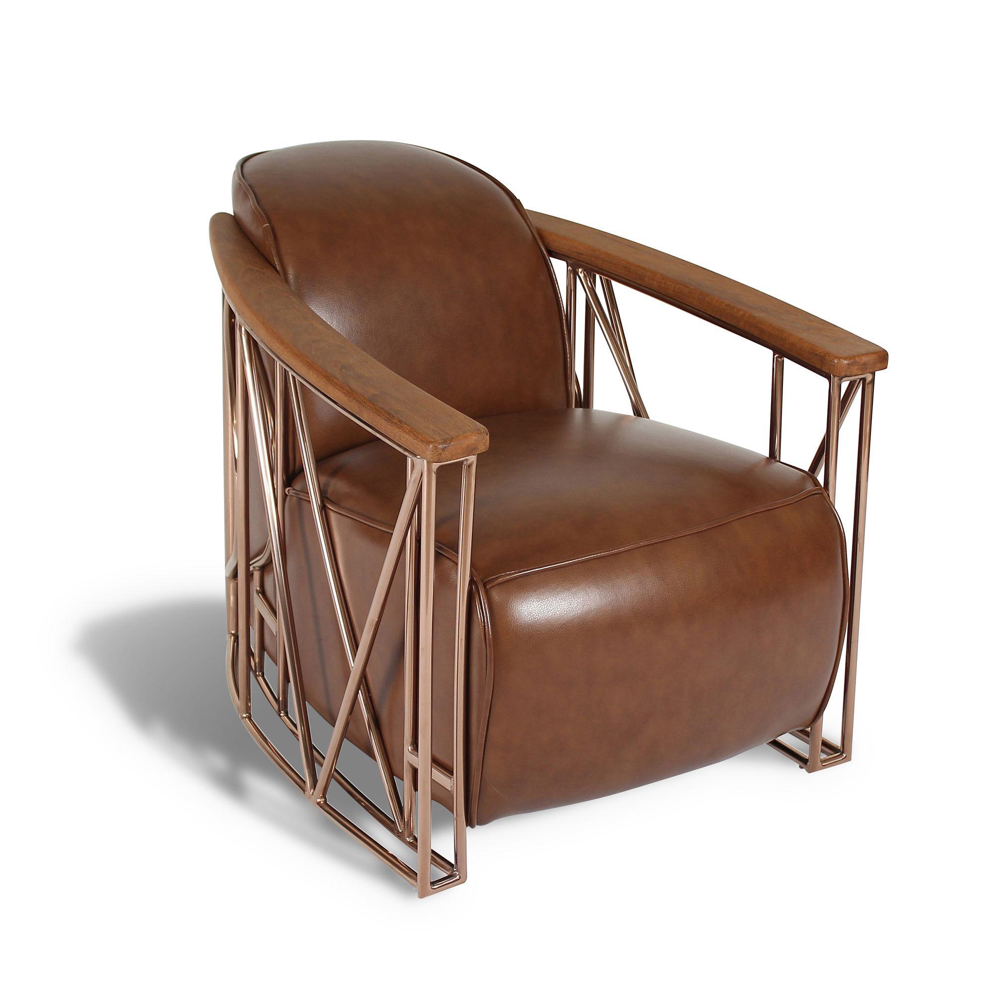 Fauteuil en cuir noisette structure en cuivre et bois