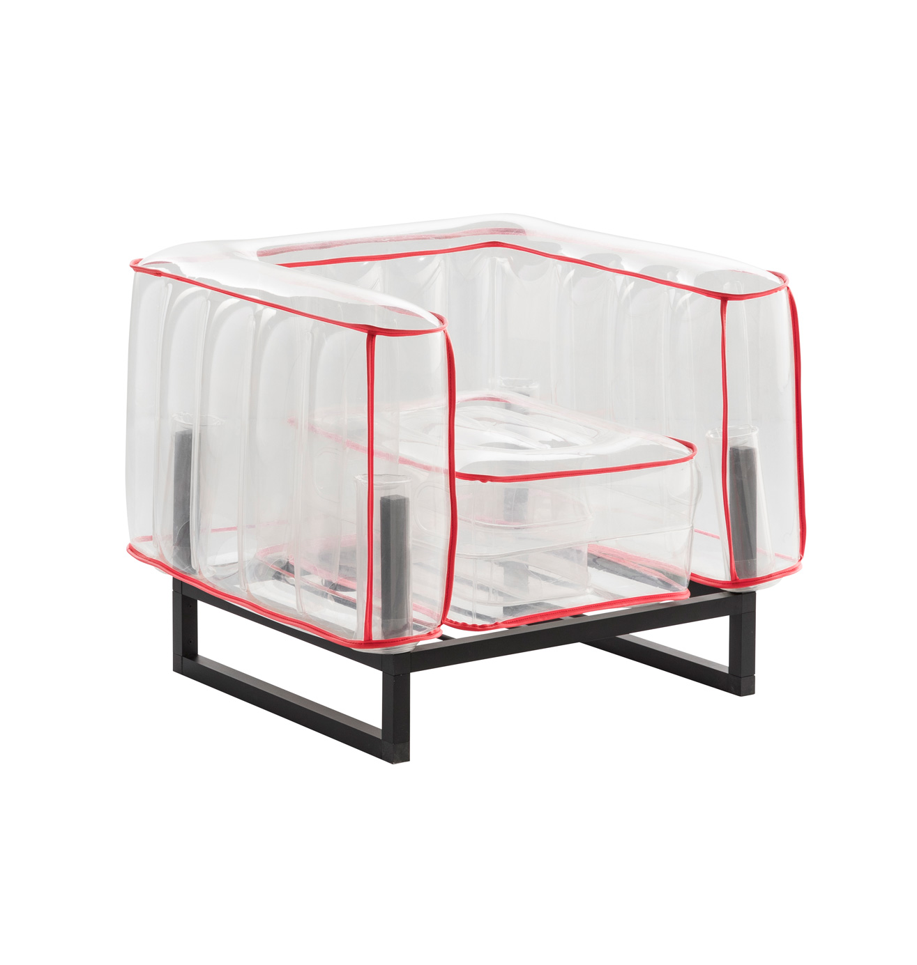Fauteuil tpu transparent avec passepoil rouge