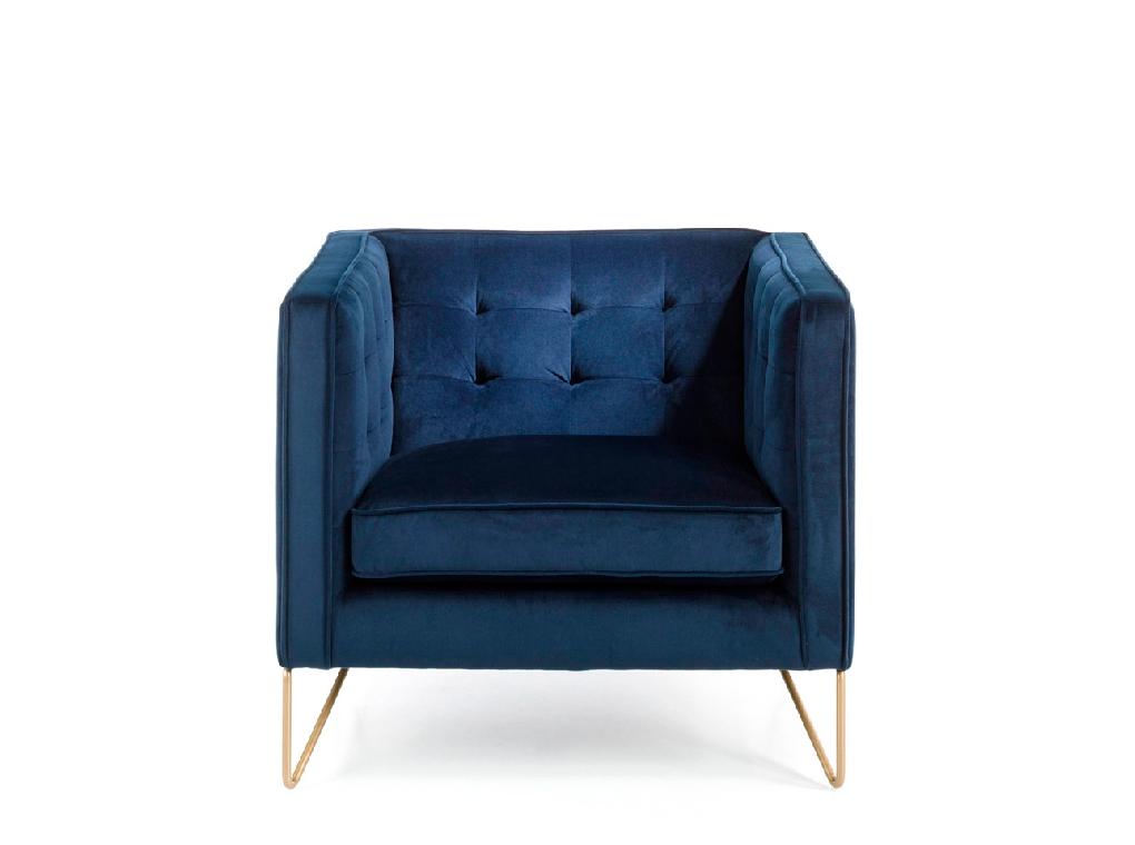 Fauteuil en velours bleu et pieds en métal doré