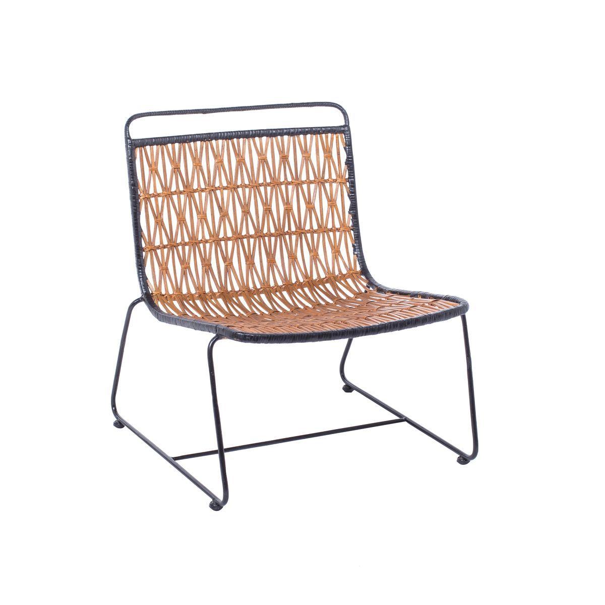 Fauteuil lounge en rotin avec croisillons miel et noir