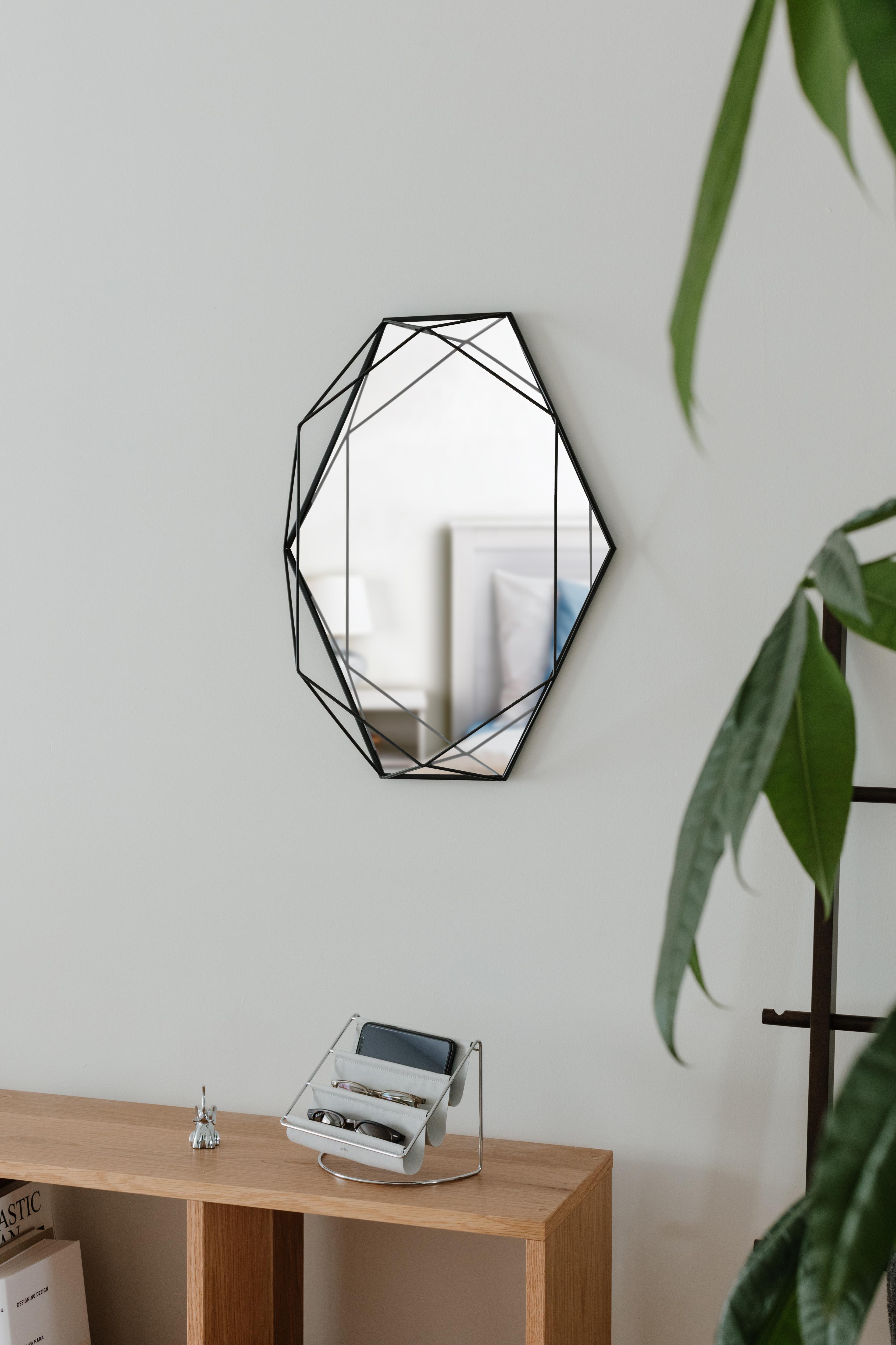 Miroir mural structure filaire métal noir