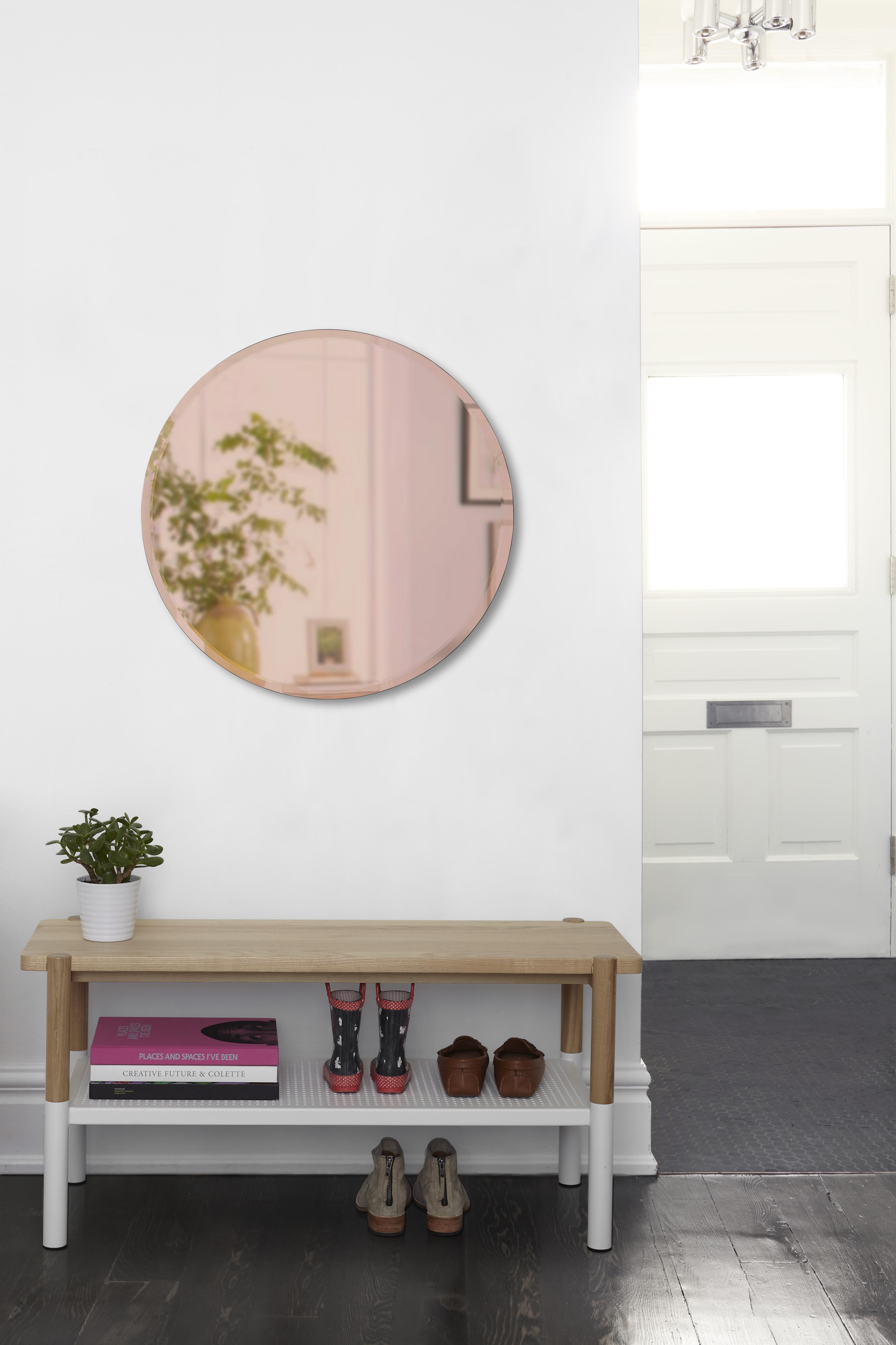 Miroir rond biseauté, dia. 91cm teinté cuivré