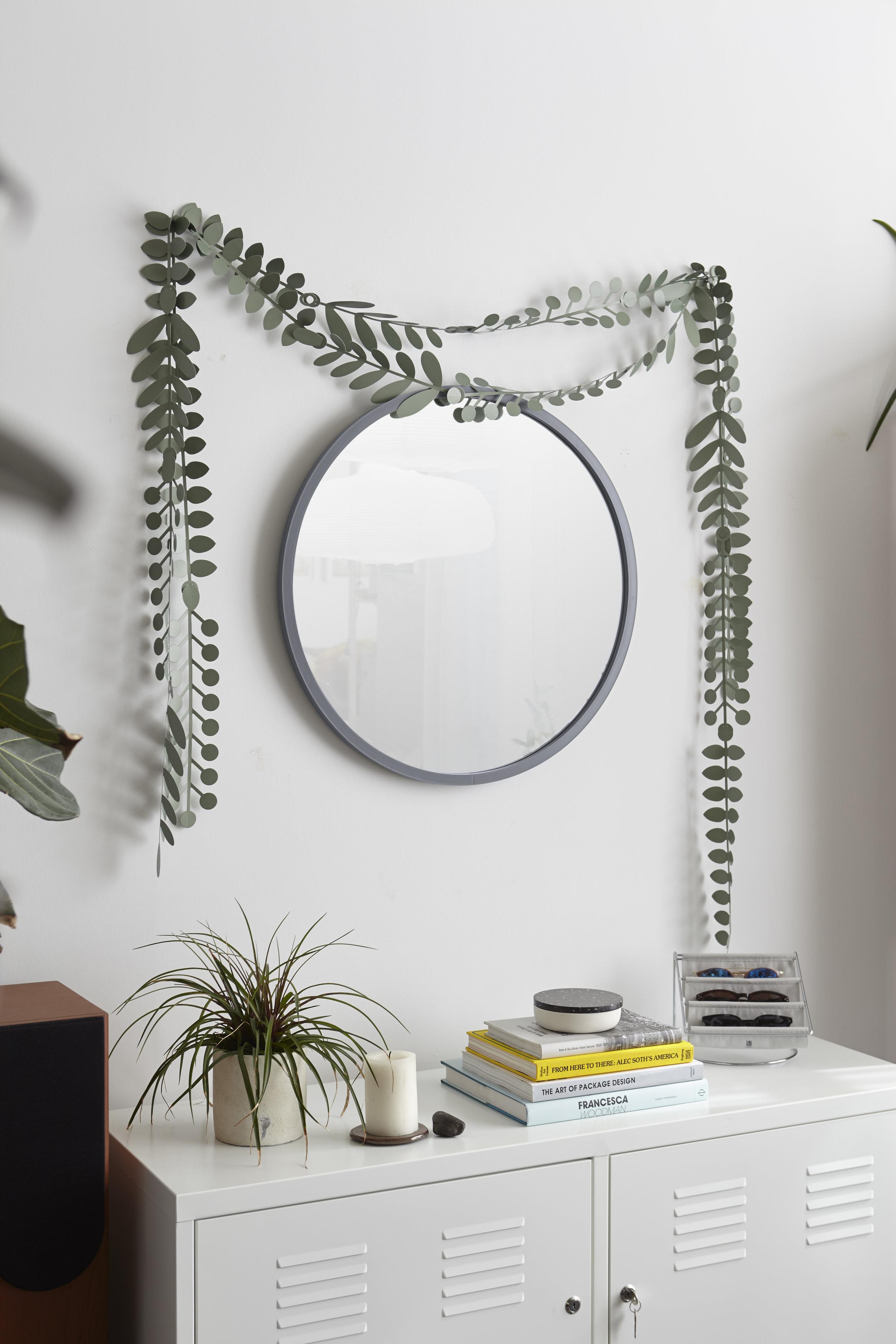 Miroir mural rond Hub contour caoutchouc gris, dia. 61cm