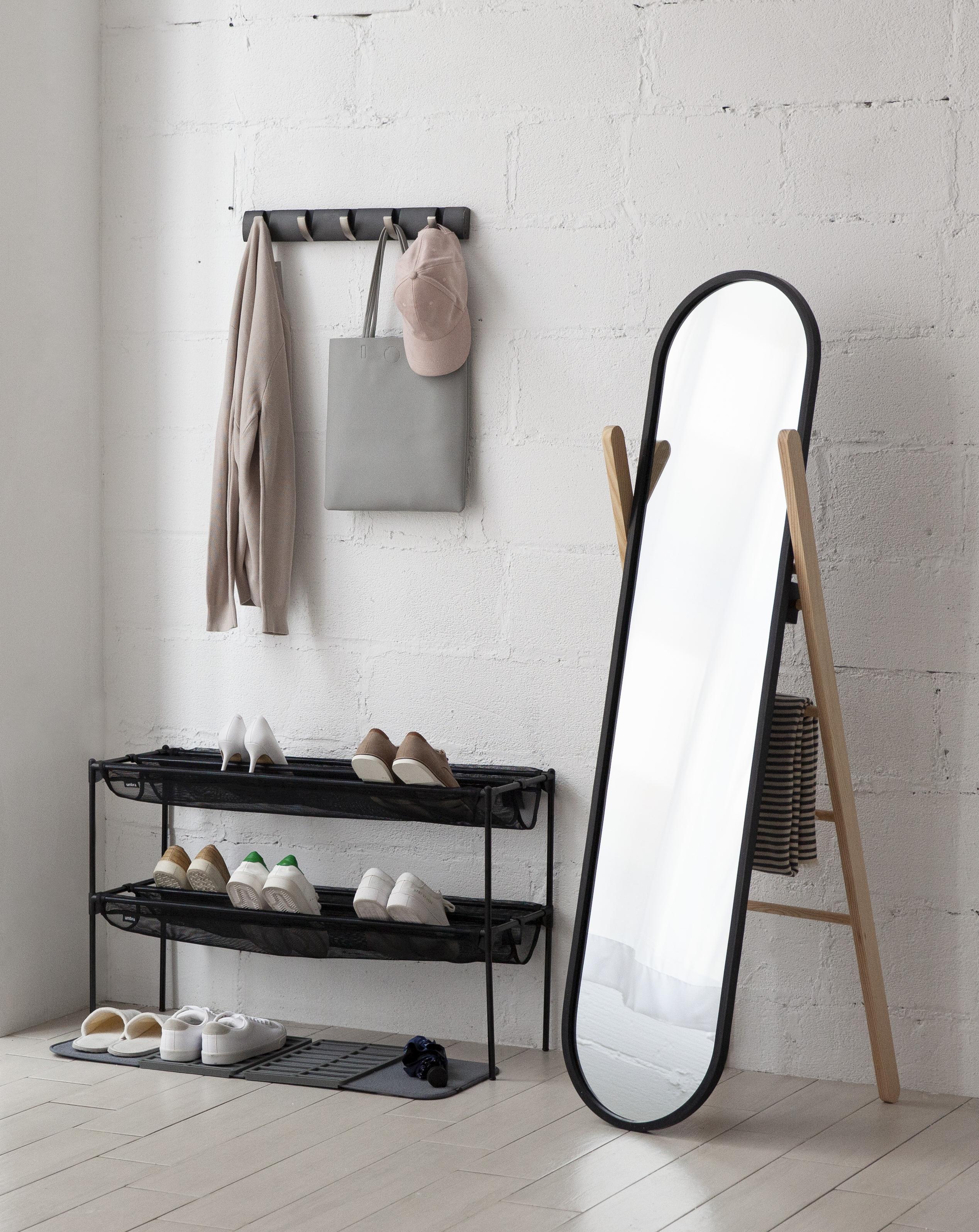 Miroir en pied à poser, noir et bois naturel, 42x157cm