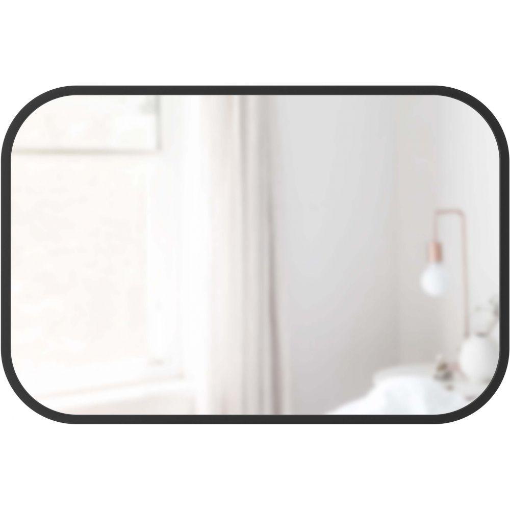 Miroir rectangle à suspendre contour caoutchouc noir, 61x91cm