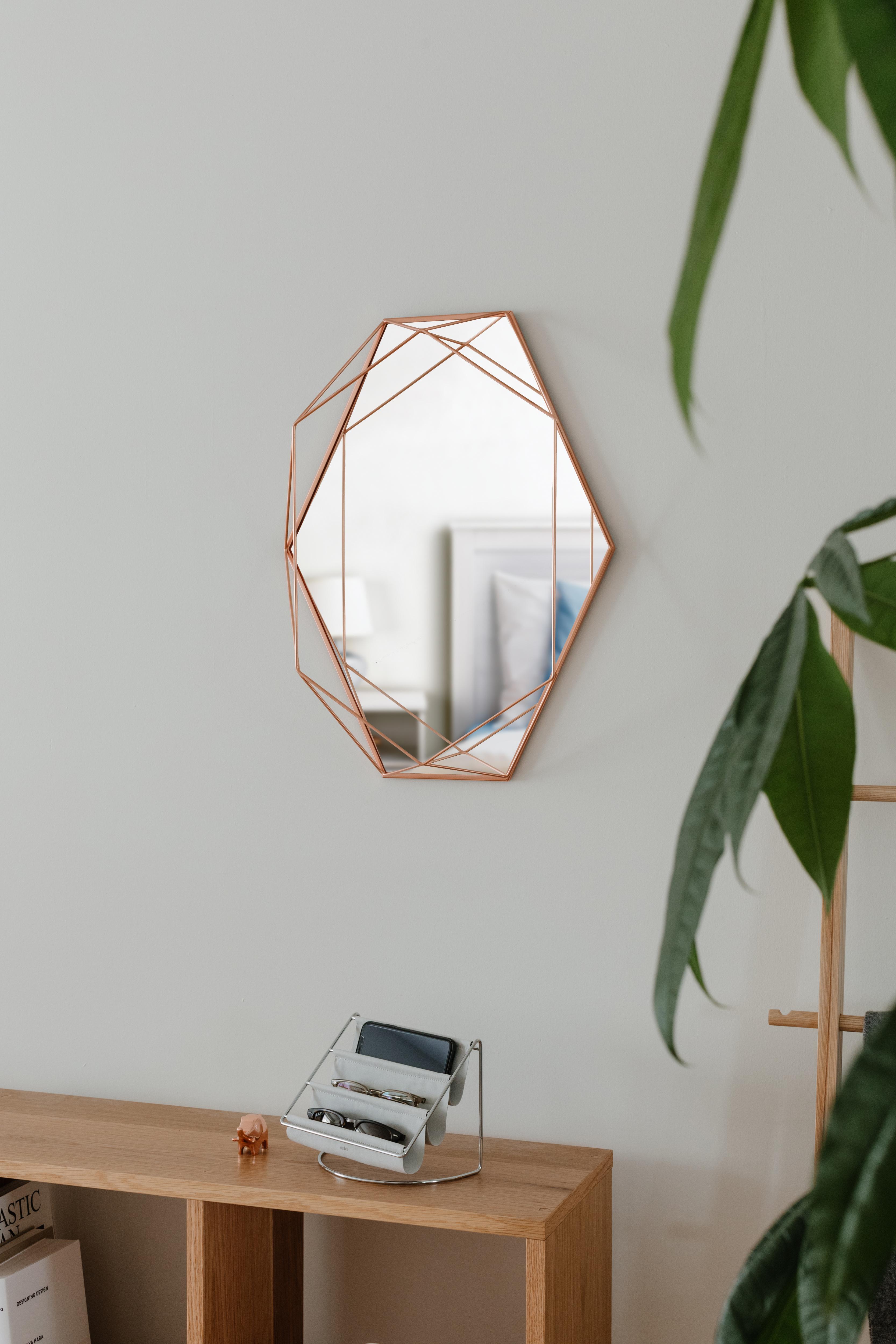 Miroir mural structure filaire métal cuivré