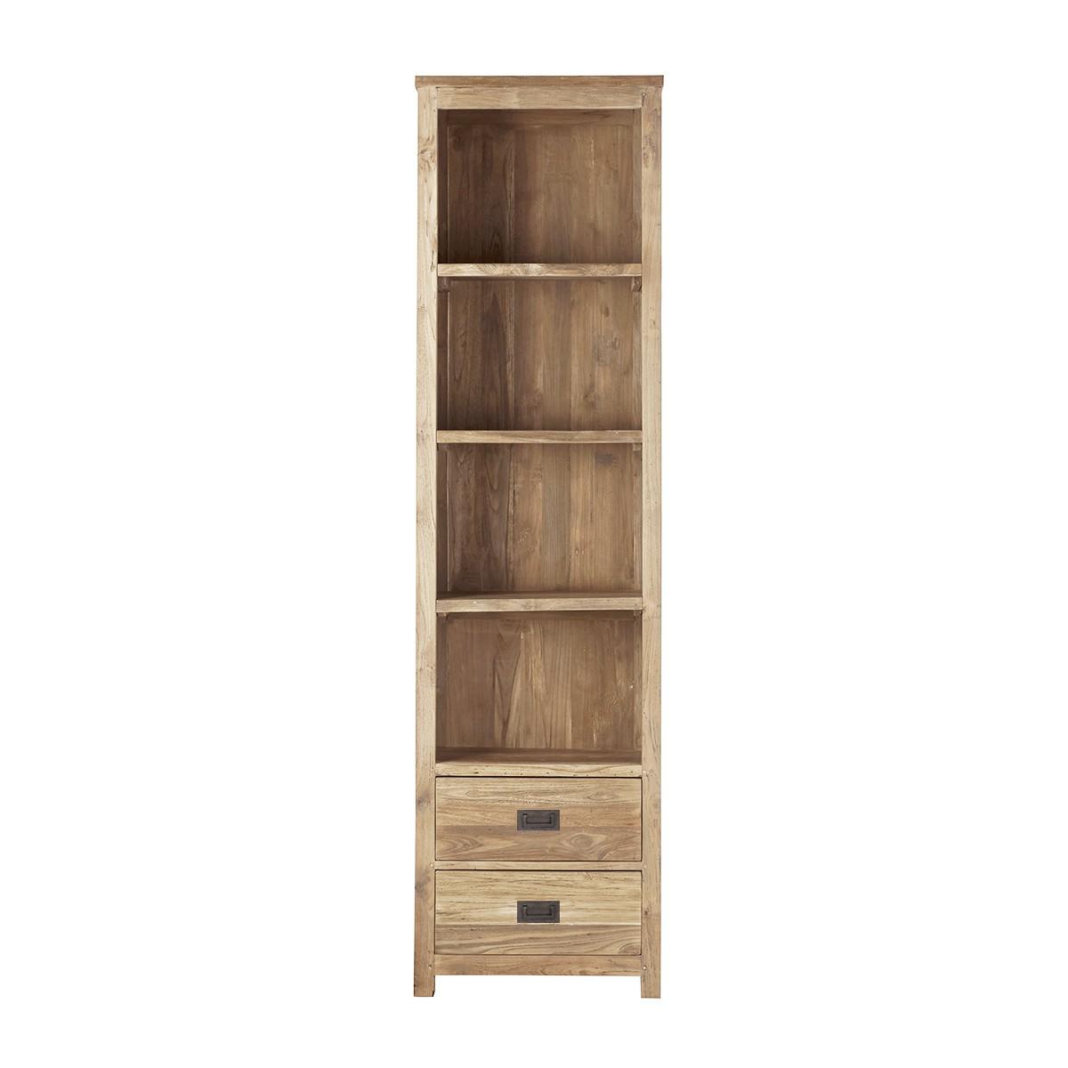 Bibliothèque 2 tiroirs et 4 niches en teck recyclé