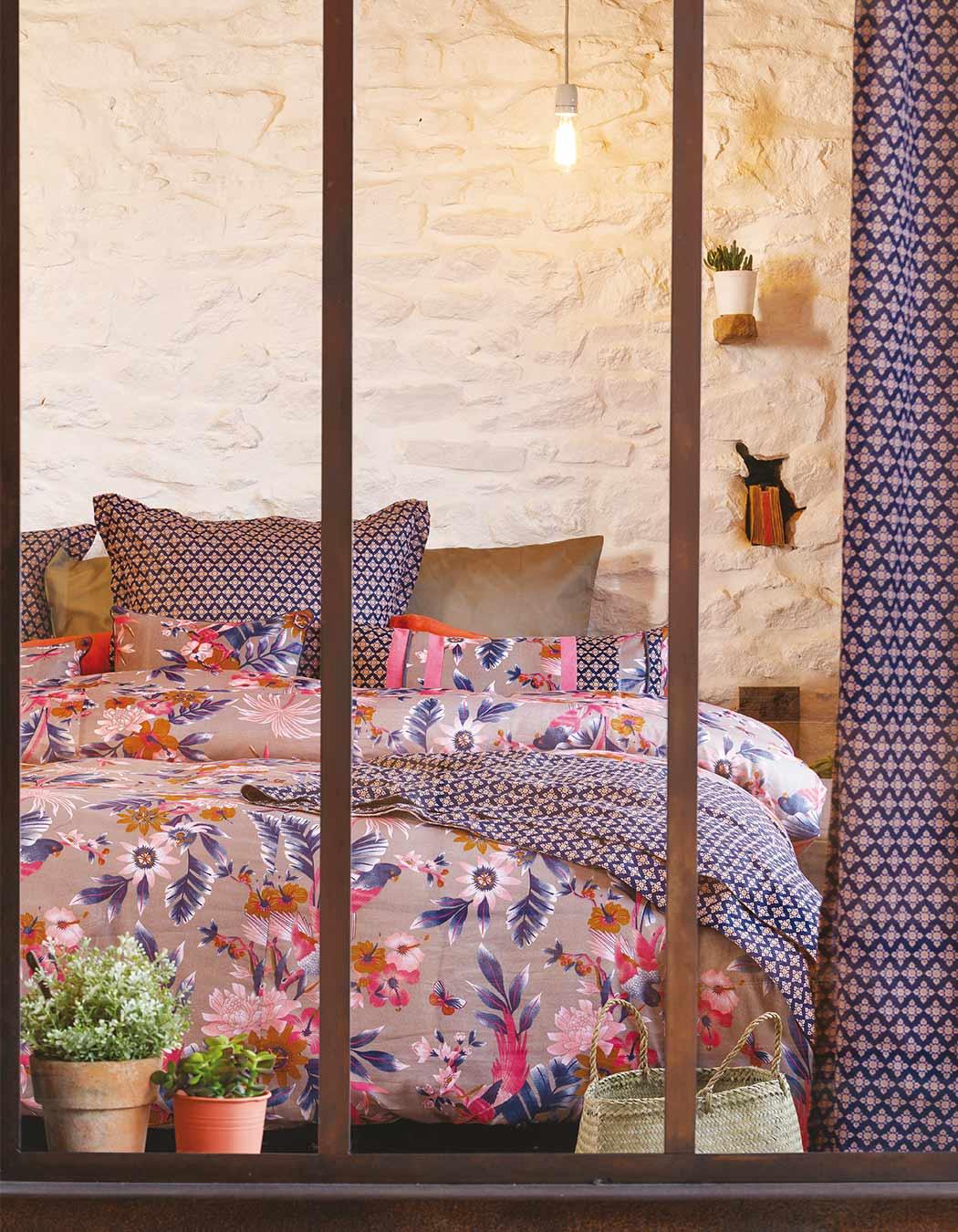 Jeté de lit surpiqué en coton grege 140 x 230