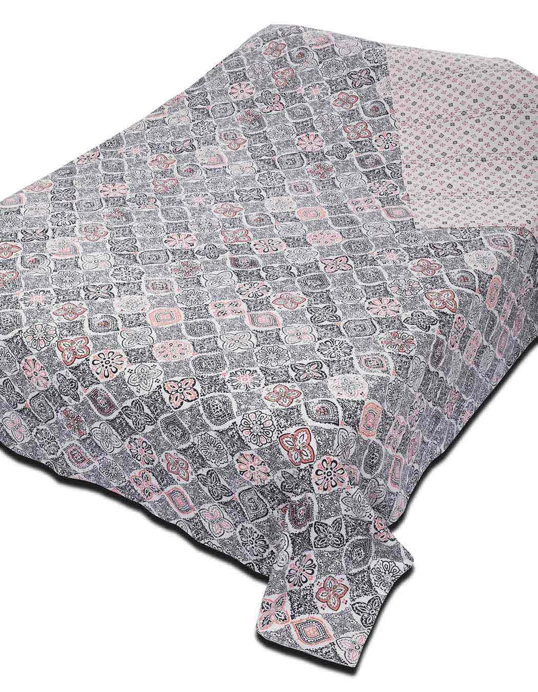 Jeté de lit surpiqué en coton anthracite 240 x 260
