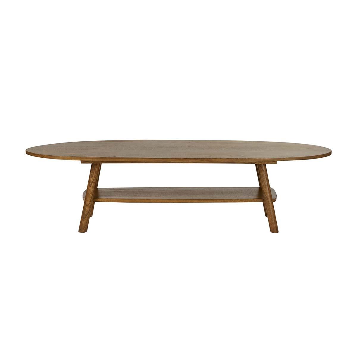 Table basse double plateau finition noyer