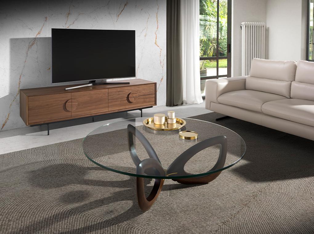 Table basse plateau en verre pieds plaqués noyer D120