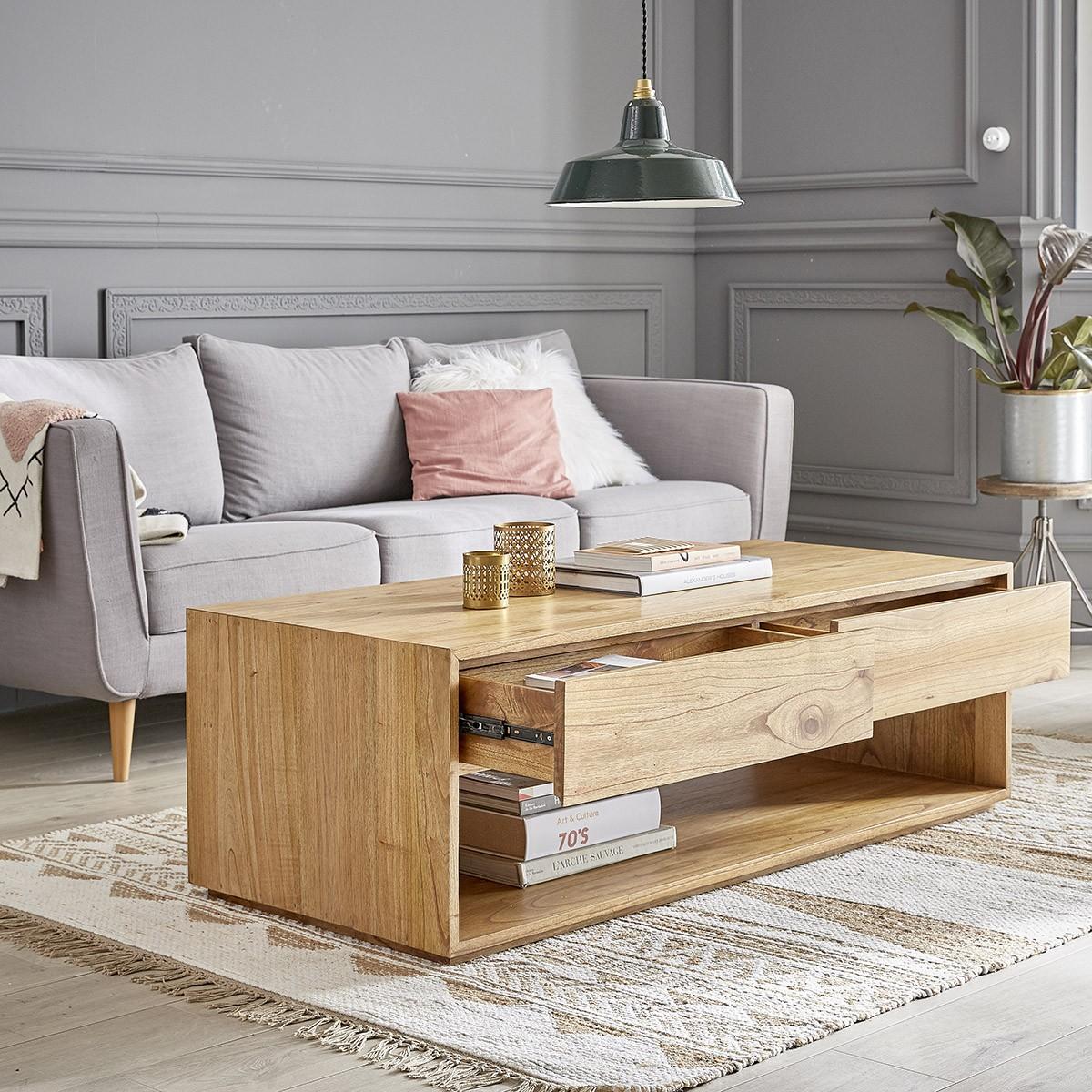 Table basse 4 tiroirs en mindy