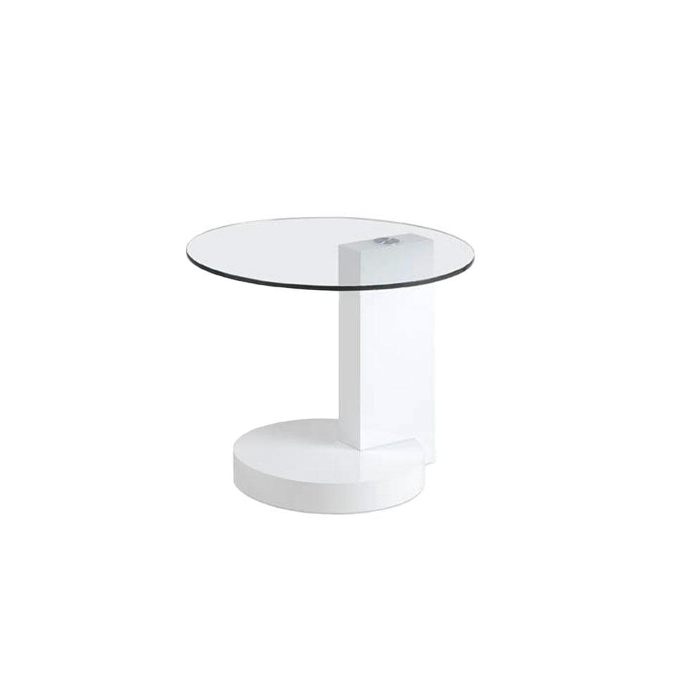 Table basse d'angle laquée blanche et verre D60