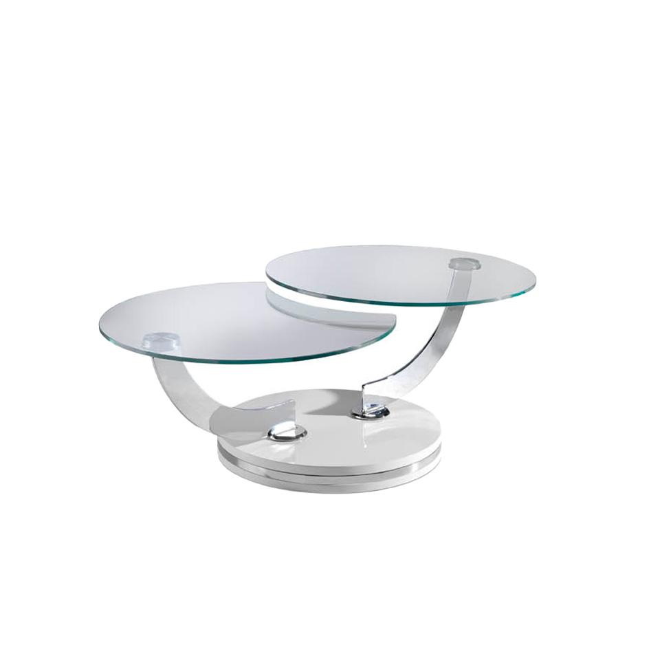Table basse 2 plateaux en verre et pieds articulés laqués blancs