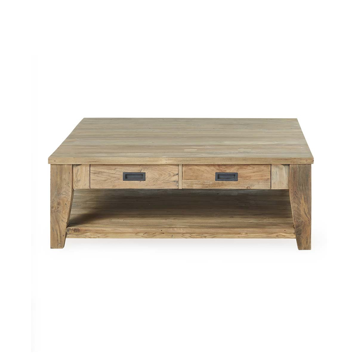 Table basse 2 tiroirs en teck recyclé