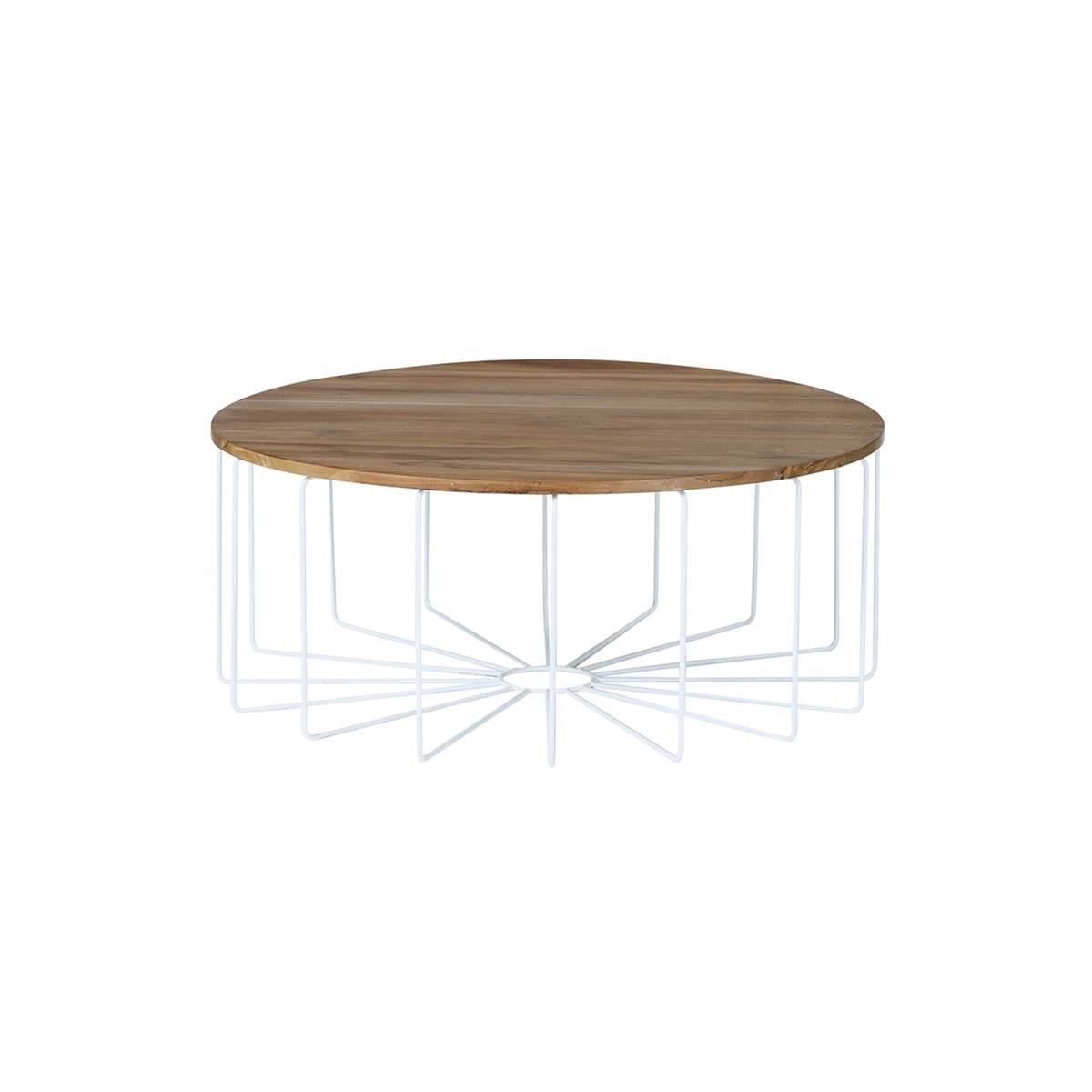 Table basse ronde en teck et métal
