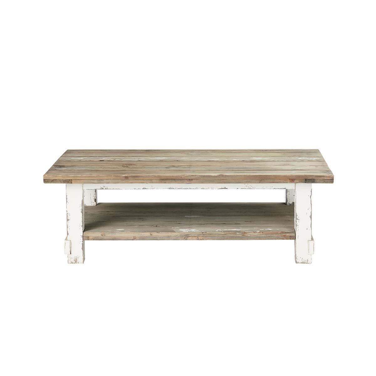 Table basse double plateau en pin recyclé